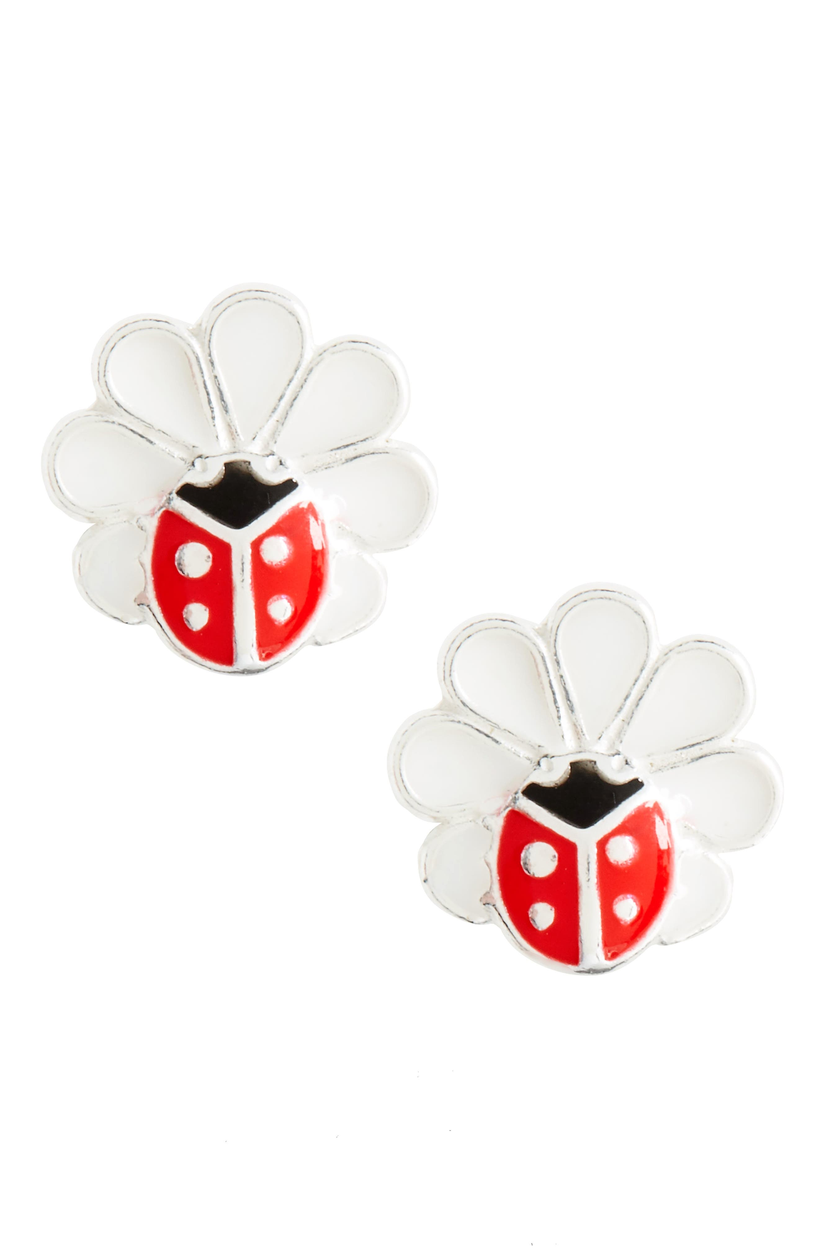 Tomas Ladybug Flower Sterling Silver Earrings (Girls)