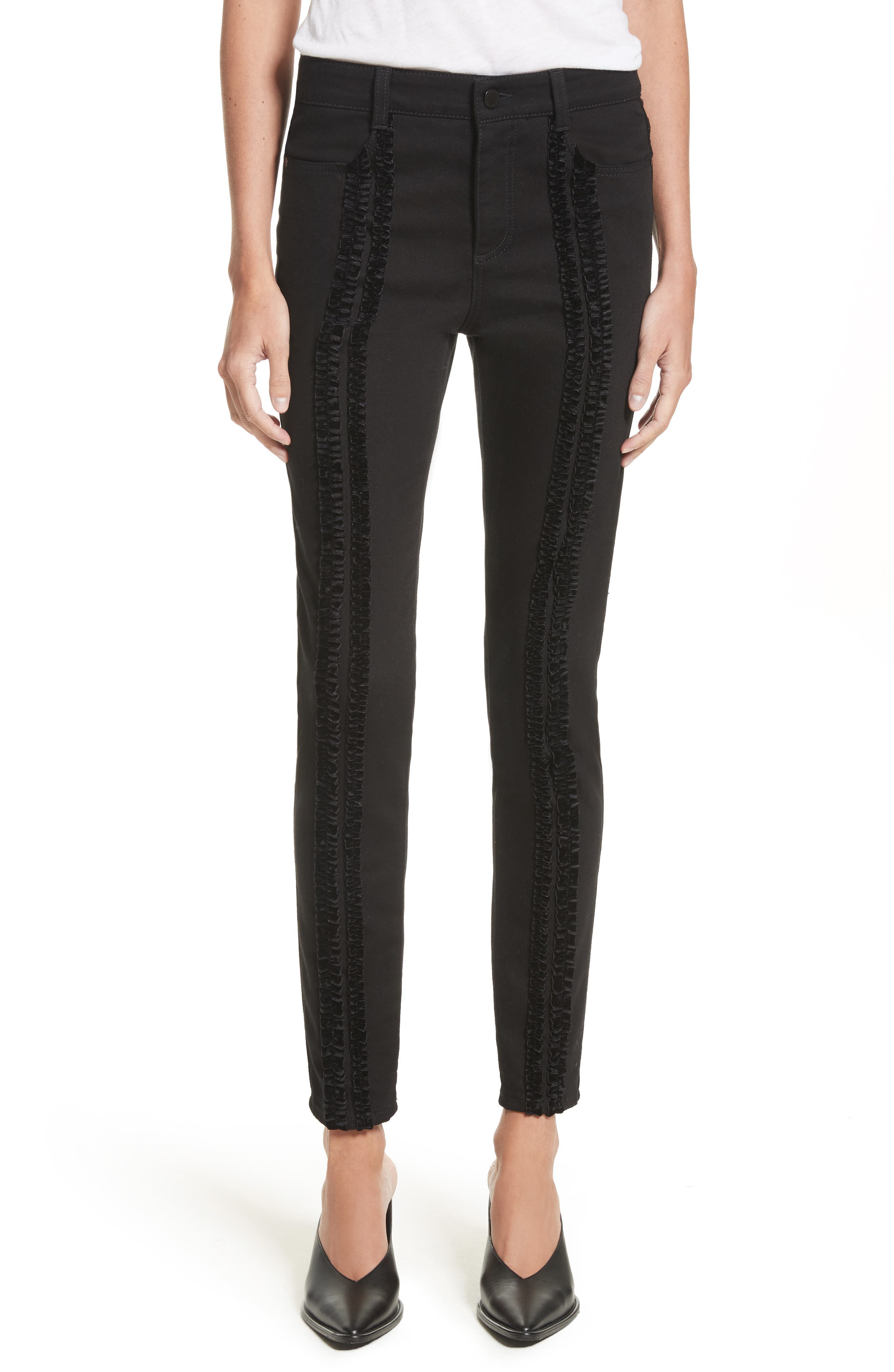 Stella McCartney Velvet Trim High Waist Skinny Jeans