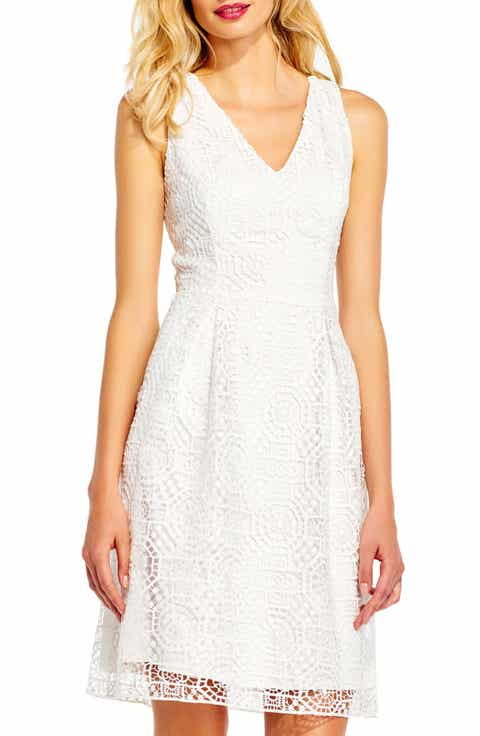 Adrianna Papell Lace Fit   Flare Dress