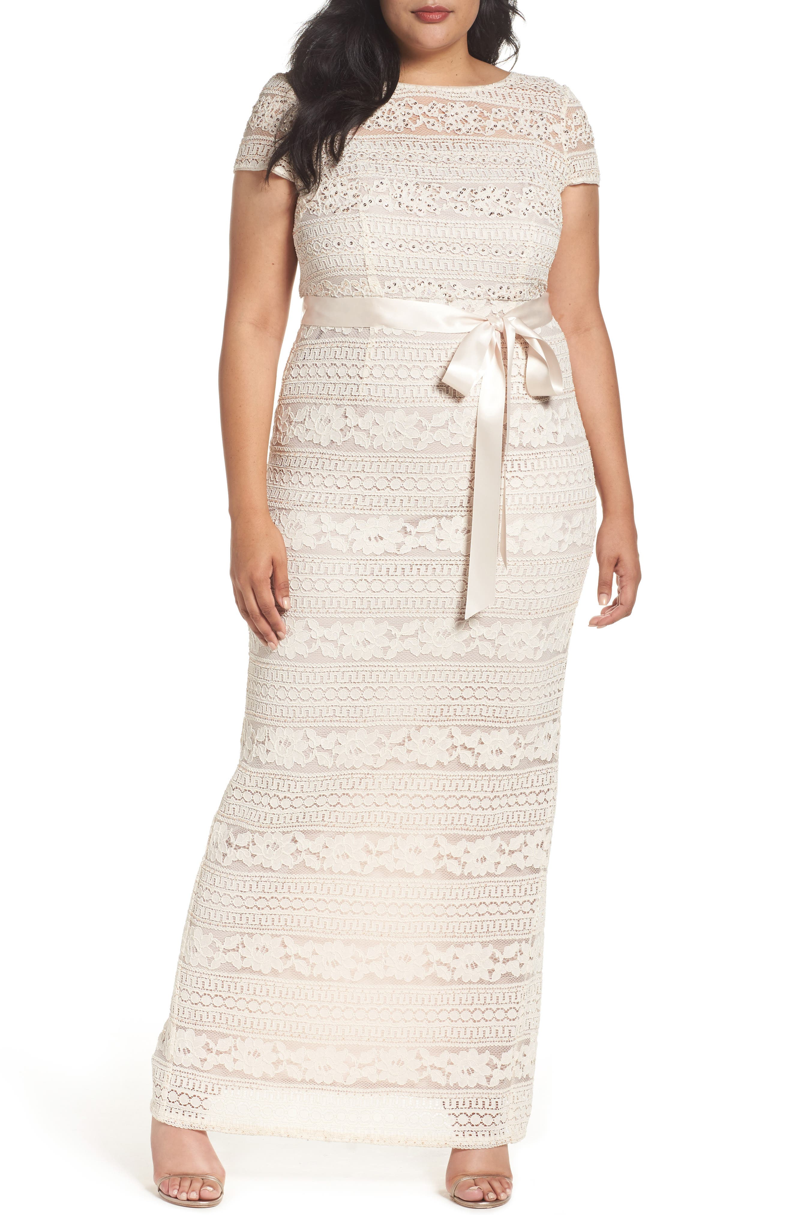 Adrianna Papell Illusion Lace Column Gown (Plus Size)