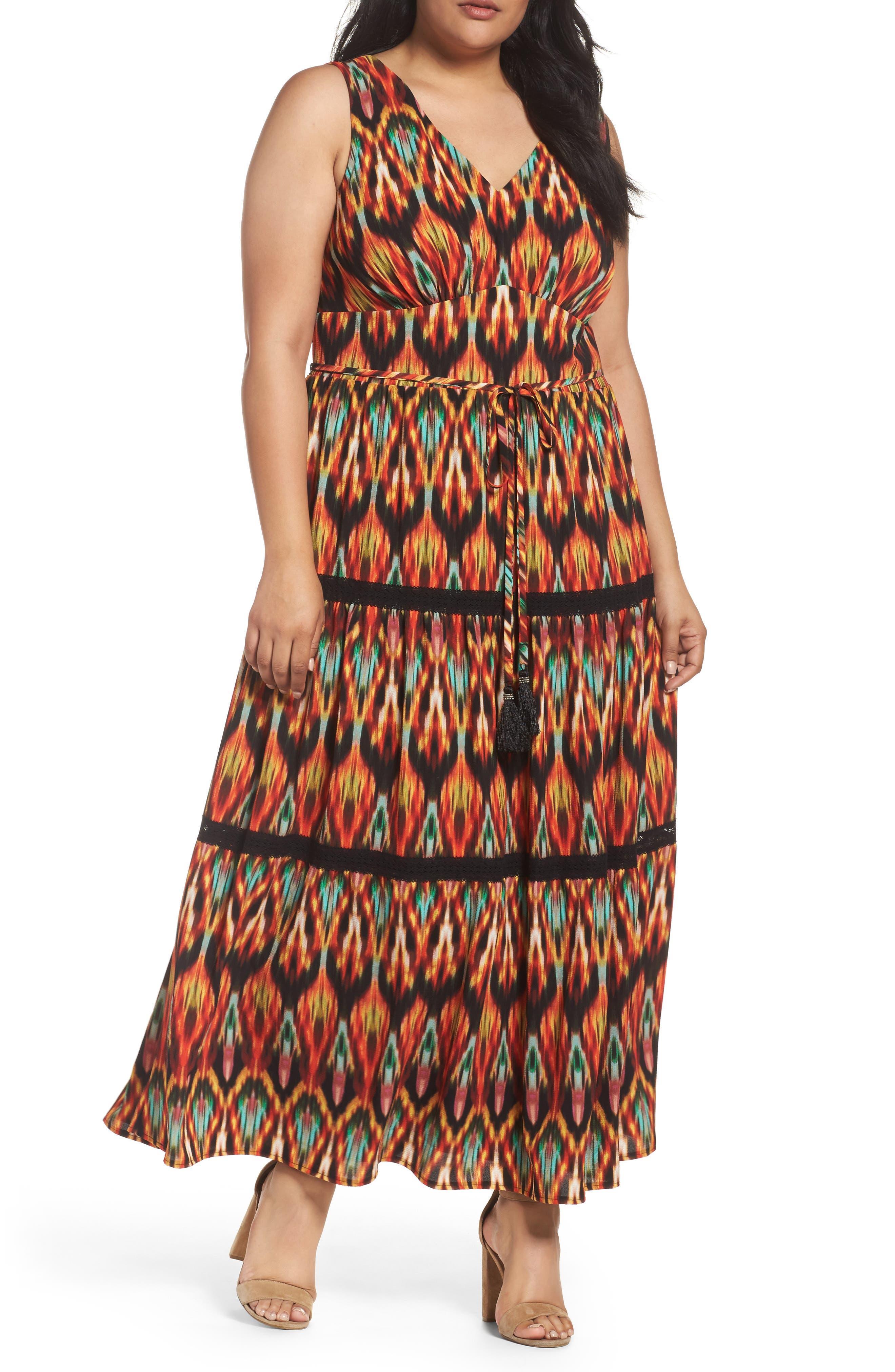 London Times Bubble Print Maxi Dress (Plus Size)