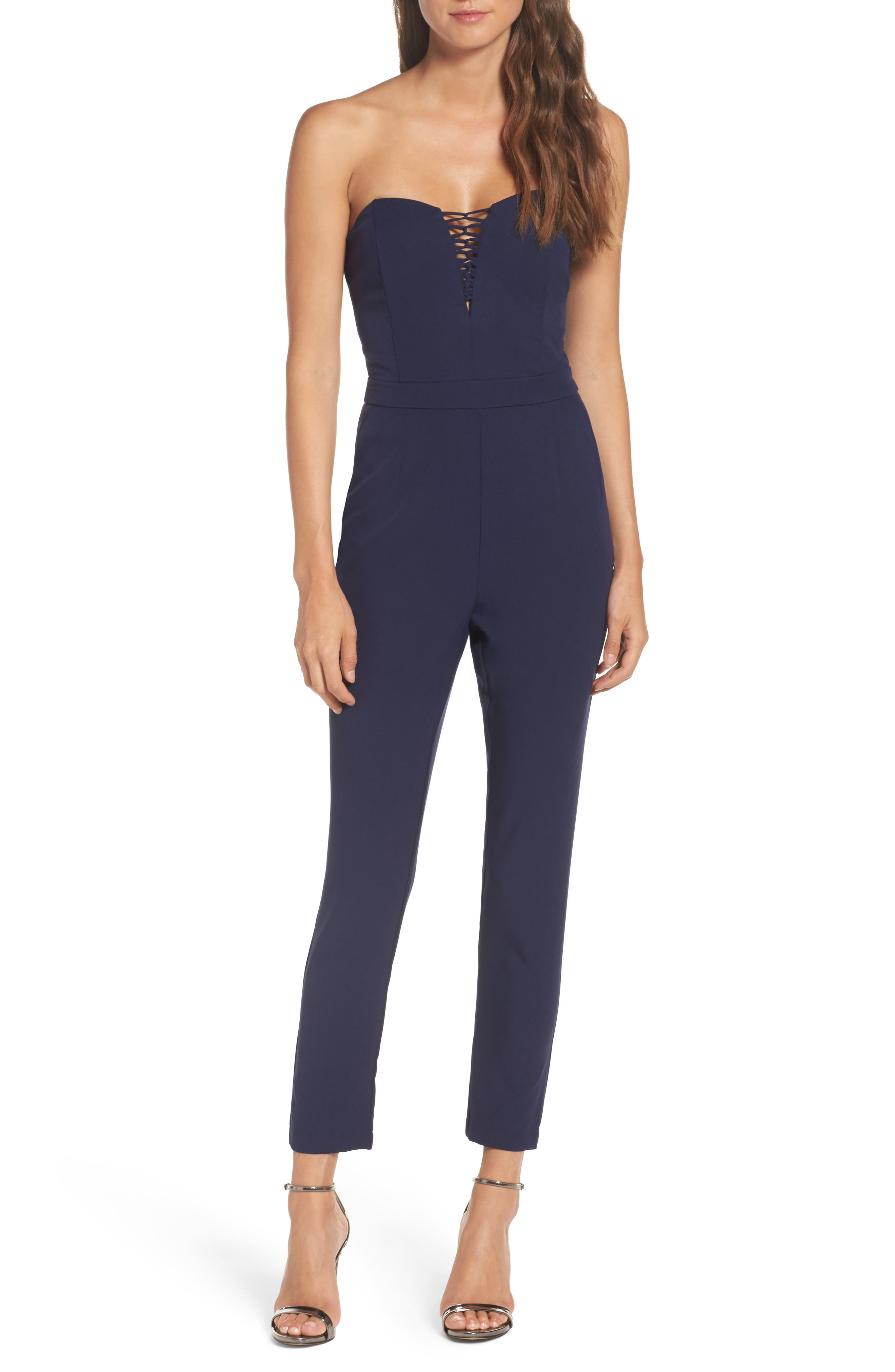 Adelyn Rae Henley Strapless Jumpsuit
