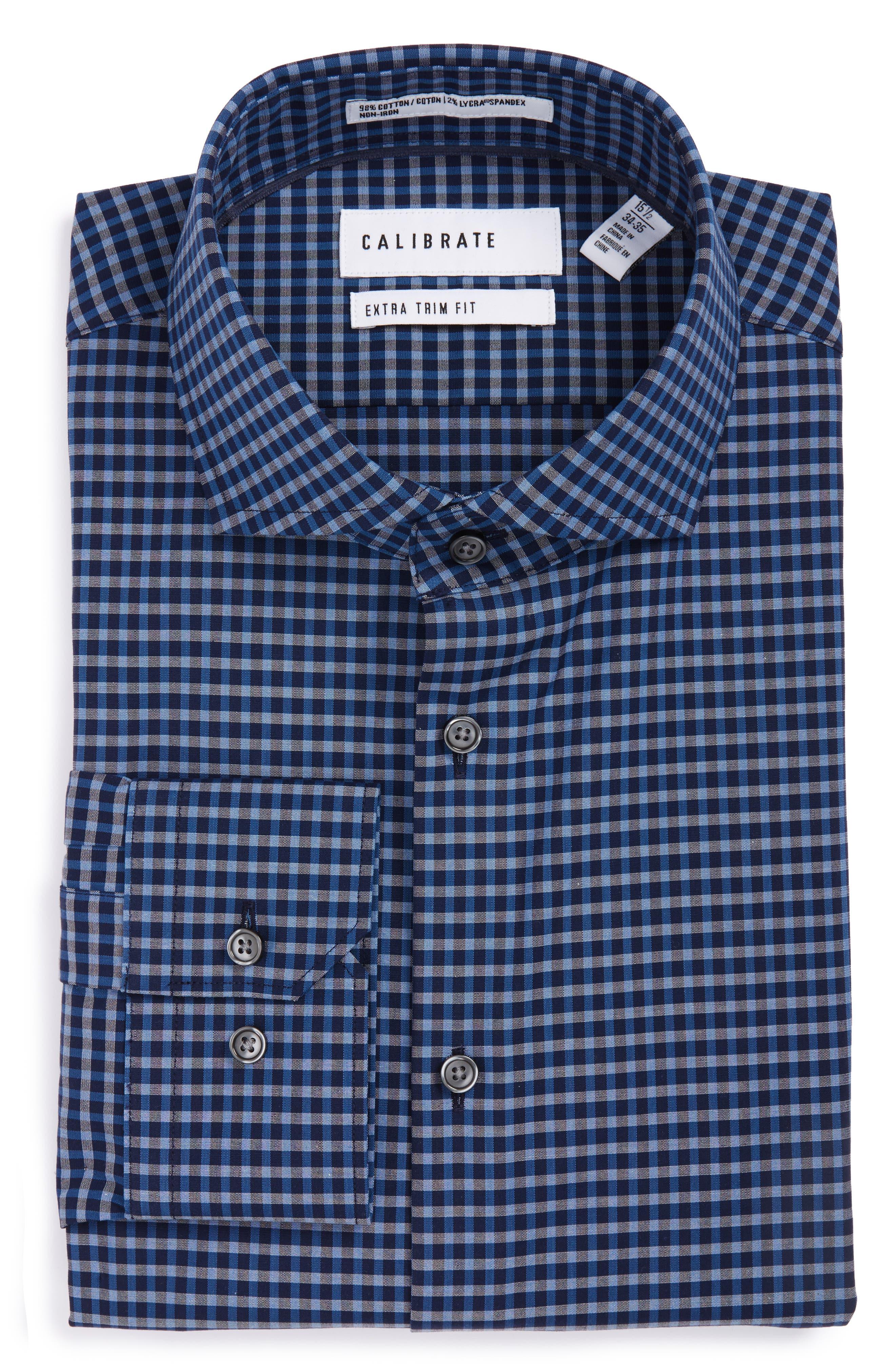 Calibrate Extra Trim Fit Non-Iron Check Stretch Dress Shirt