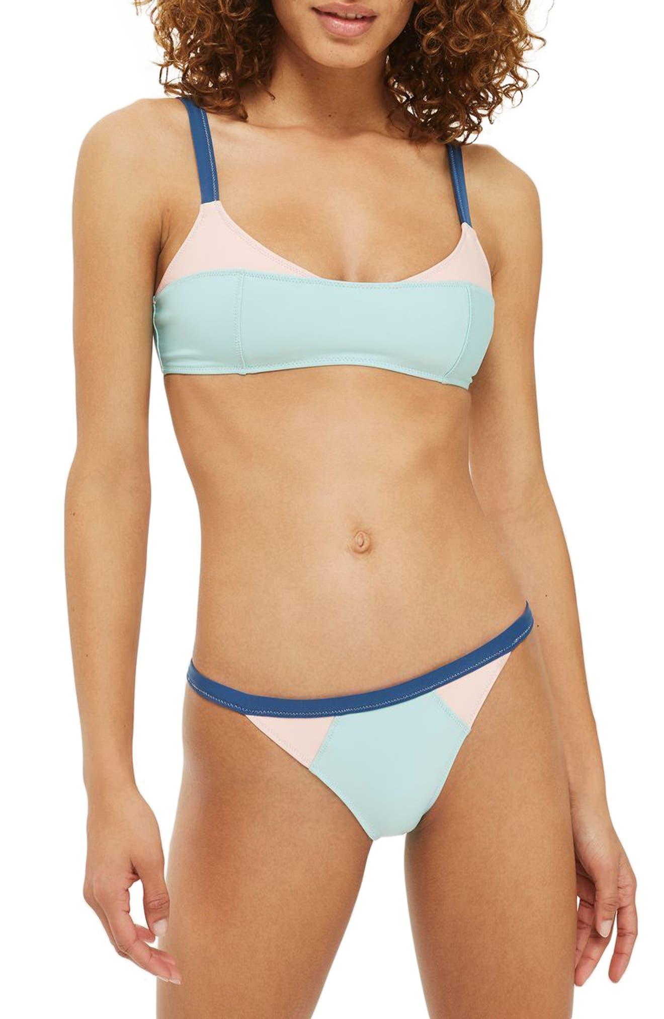 Topshop Colorblock Bikini Top