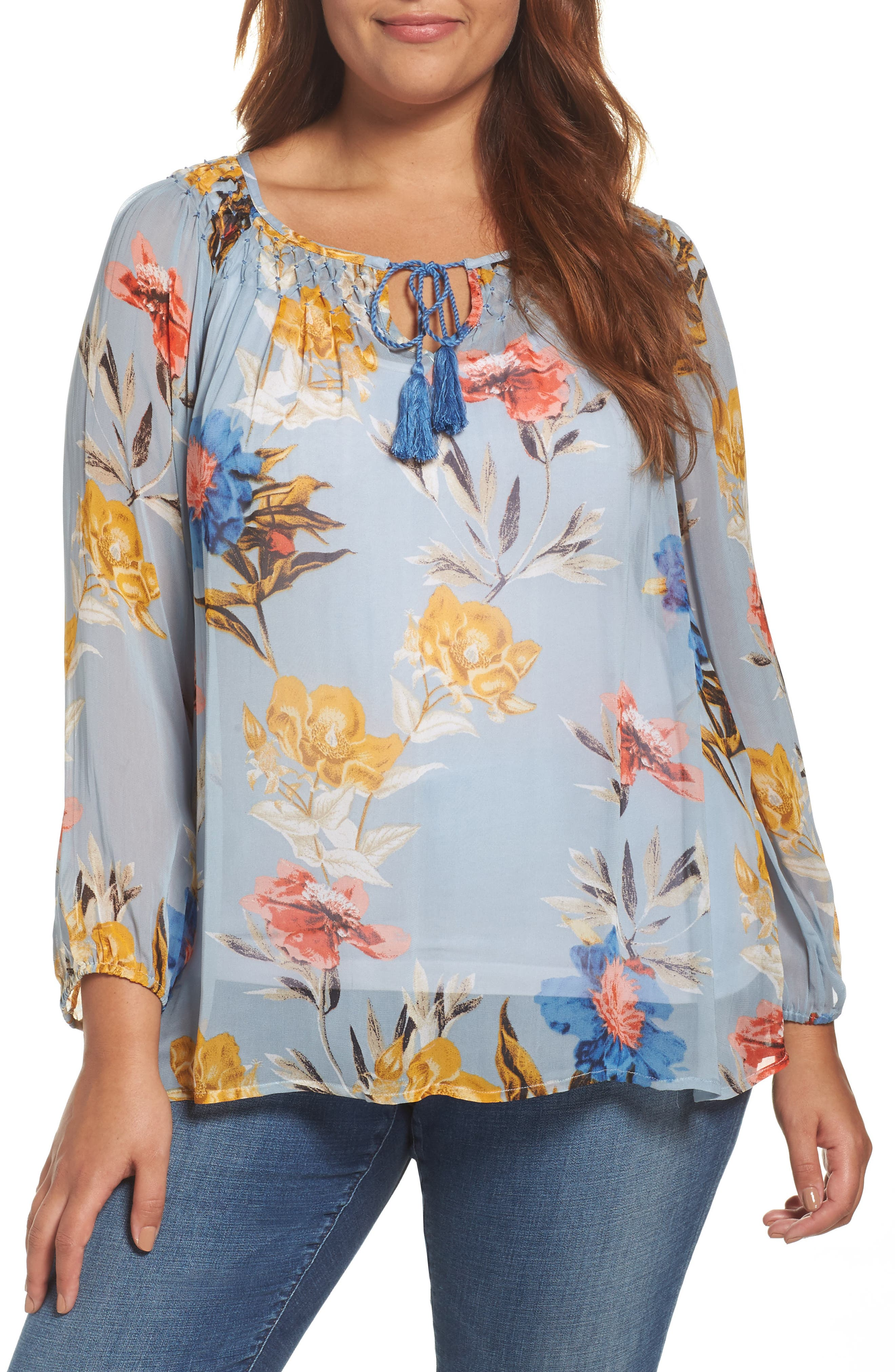 Lucky Brand Tucked Floral Print Peasant Top (Plus Size)