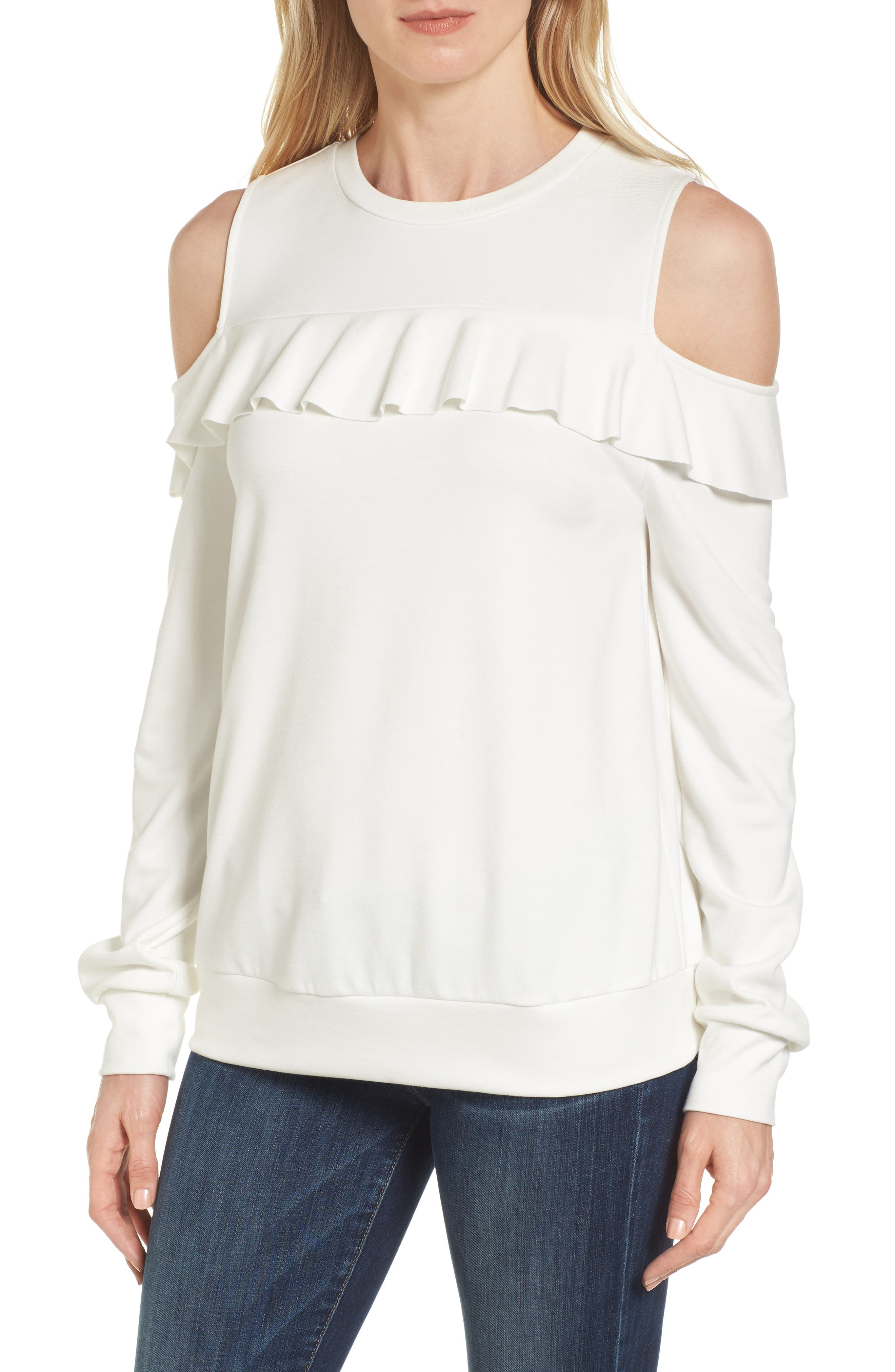 Halogen® Ruffle Front Cold Shoulder Sweatshirt (Regular & Petite)