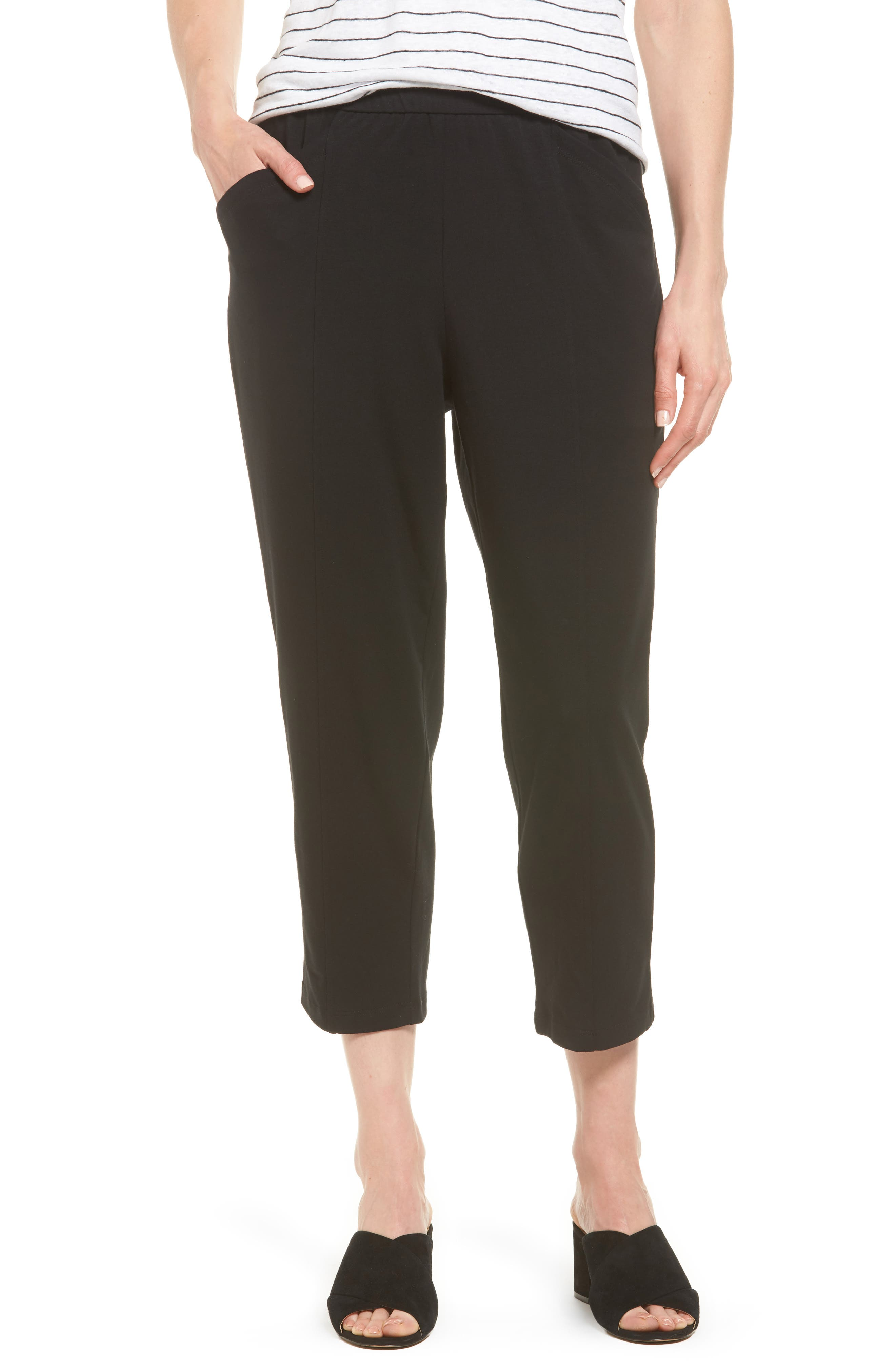 Eileen Fisher Stretch Organic Cotton Crop Pants (Regular & Petite)