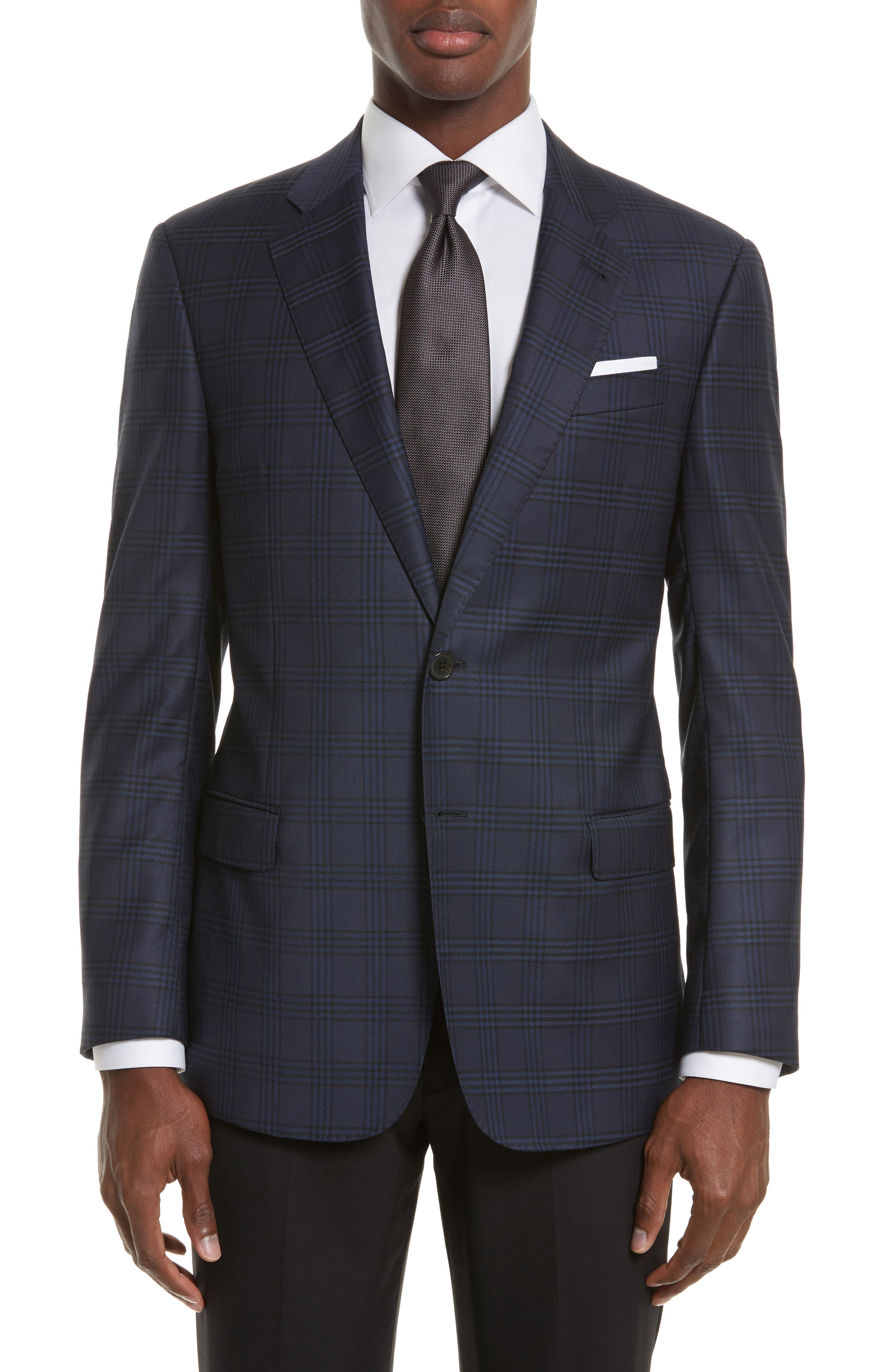 Armani Collezioni Trim Fit Plaid Wool Sport Coat