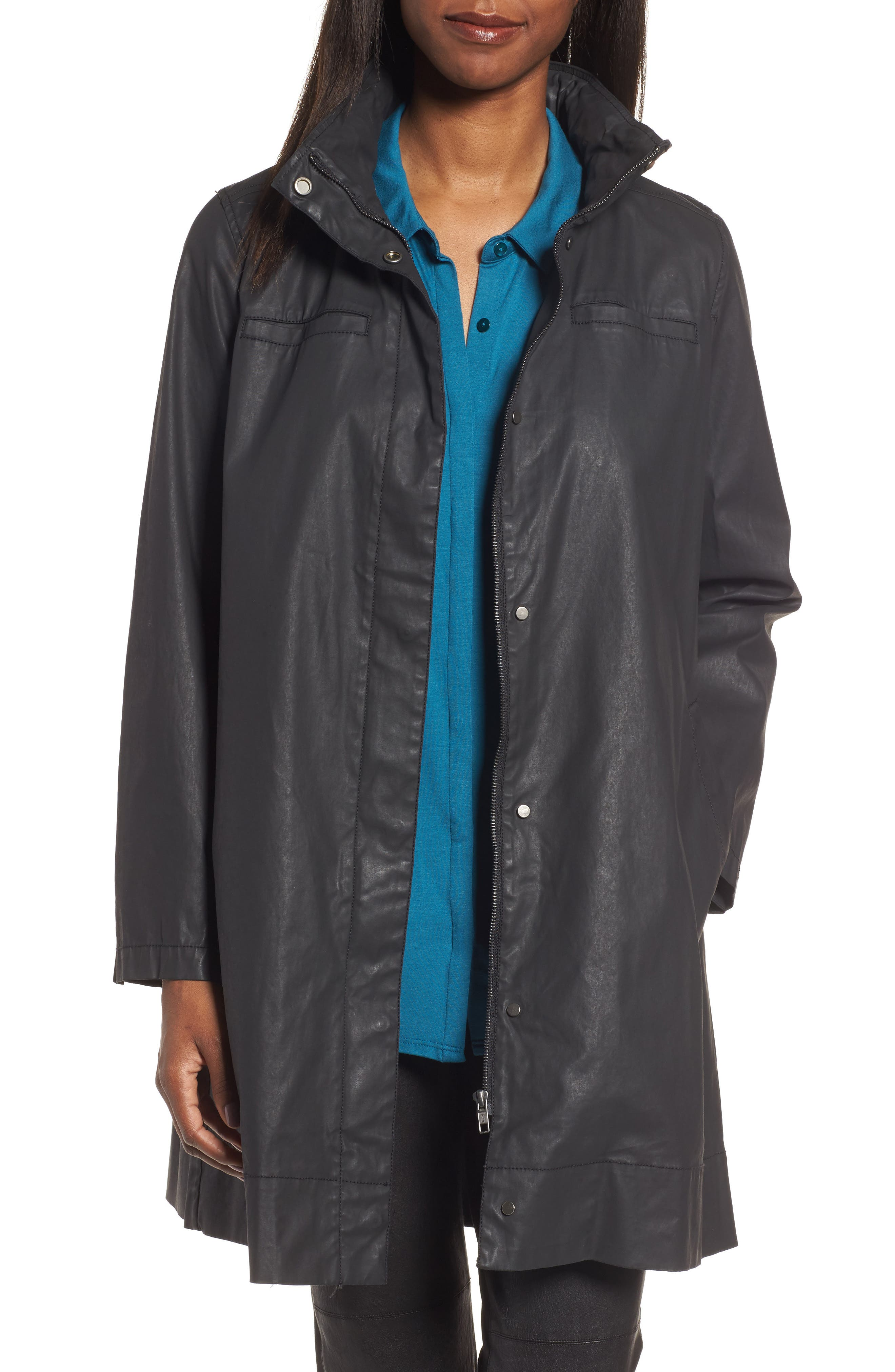 Eileen Fisher Stretch Cotton A-Line Jacket with Stowaway Hood