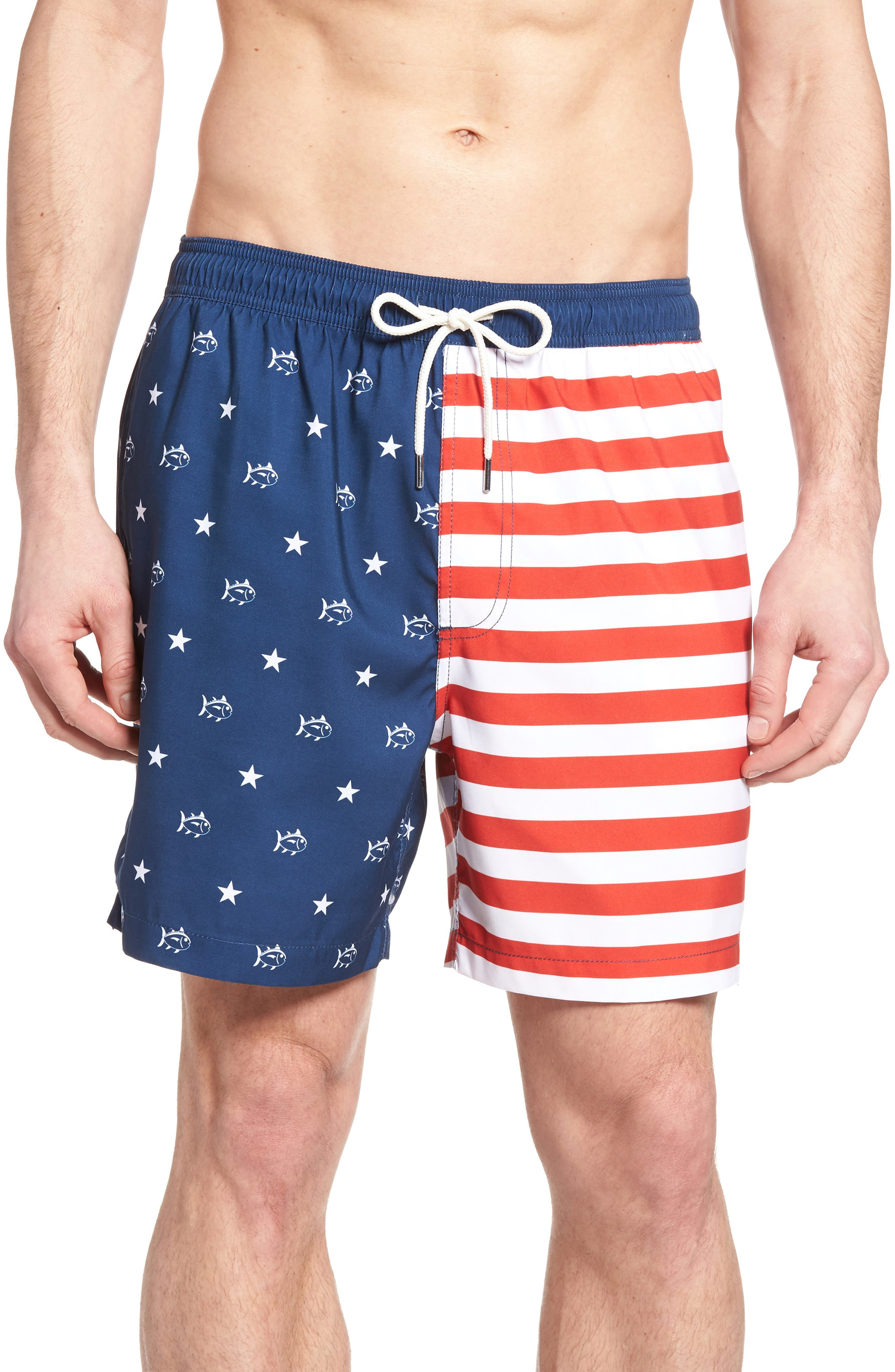 Southern Tide Flag Swim Trunks