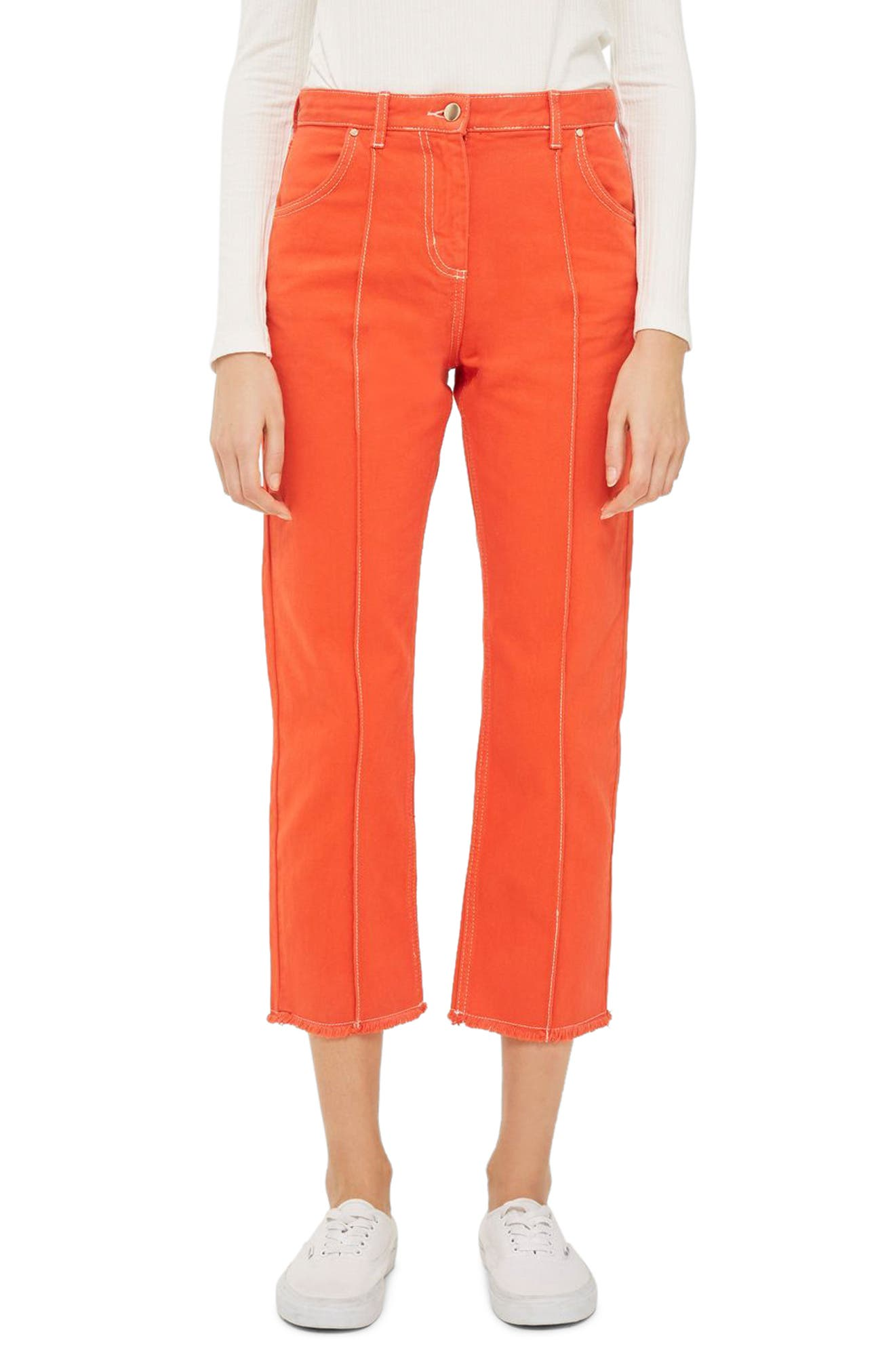 Topshop Boutique Seam Front Crop Jeans