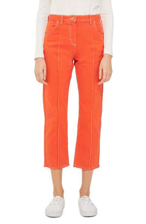 Topshop Boutique Seam Front Crop Jeans