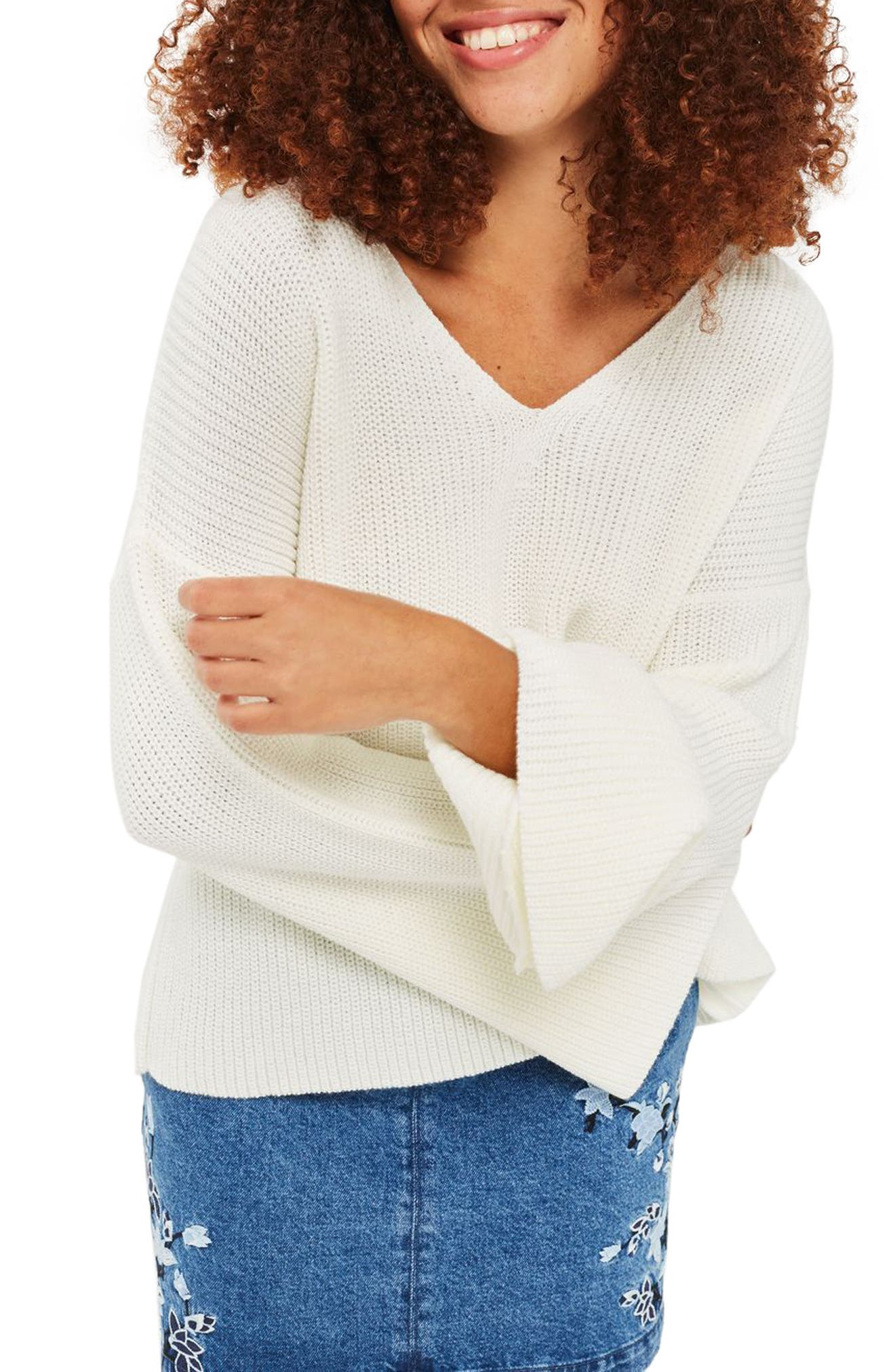 Alternate Image 1 Selected - Topshop Lattice Back Sweater