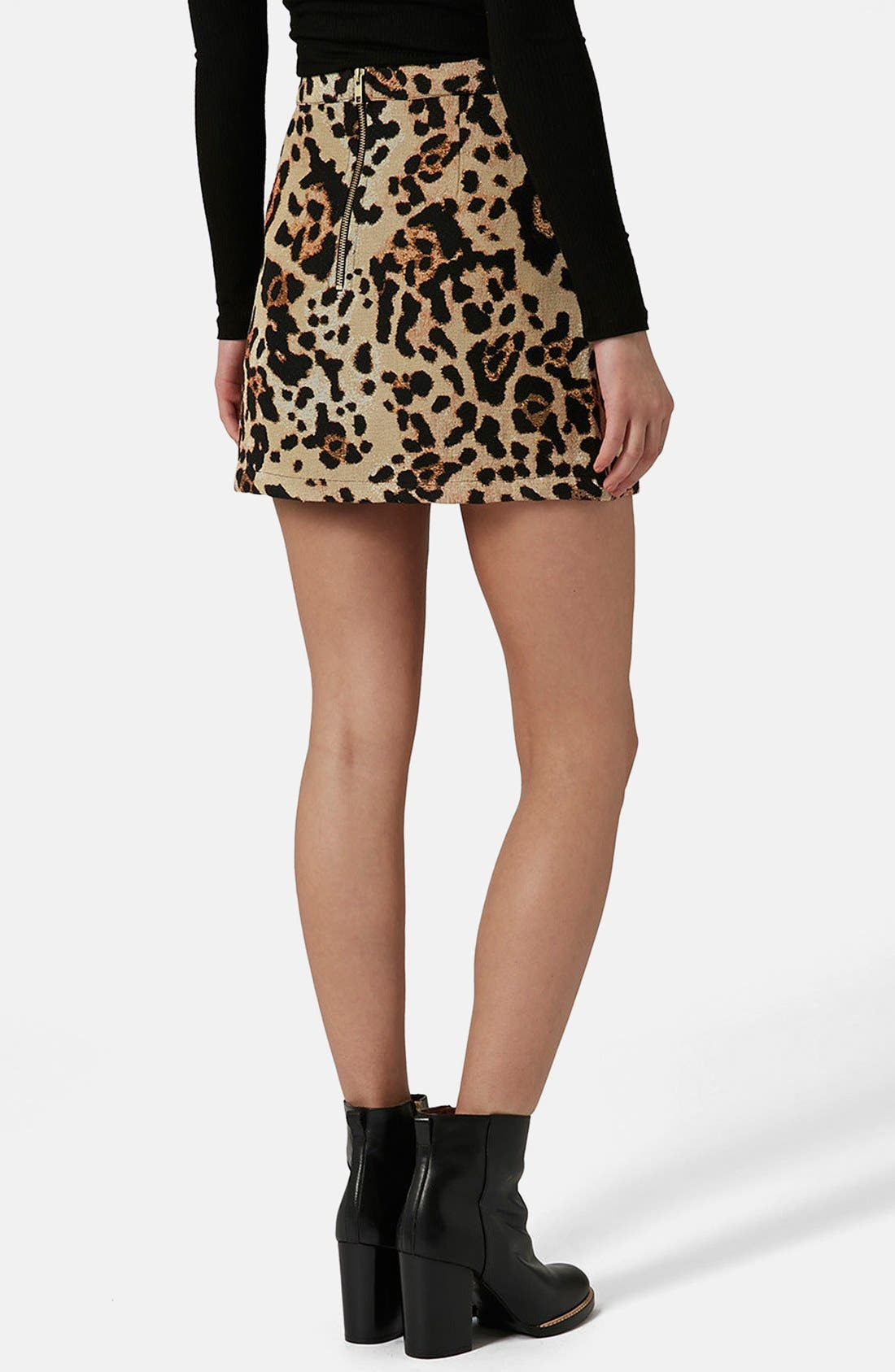 Alternate Image 2  - Topshop Animal Jacquard A-Line Skirt