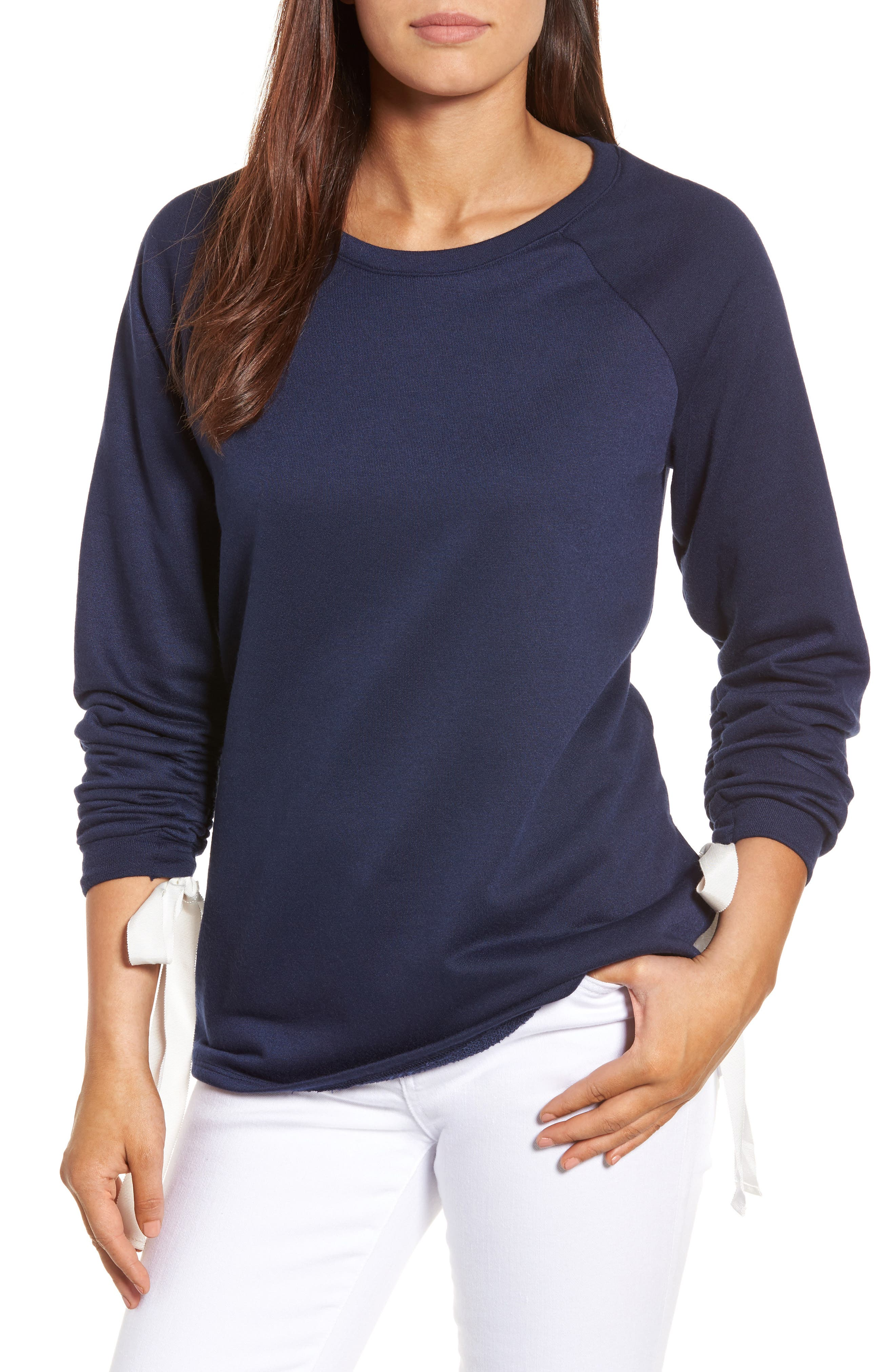 Caslon® Tie Ruched Sleeve Sweatshirt (Regular & Petite)