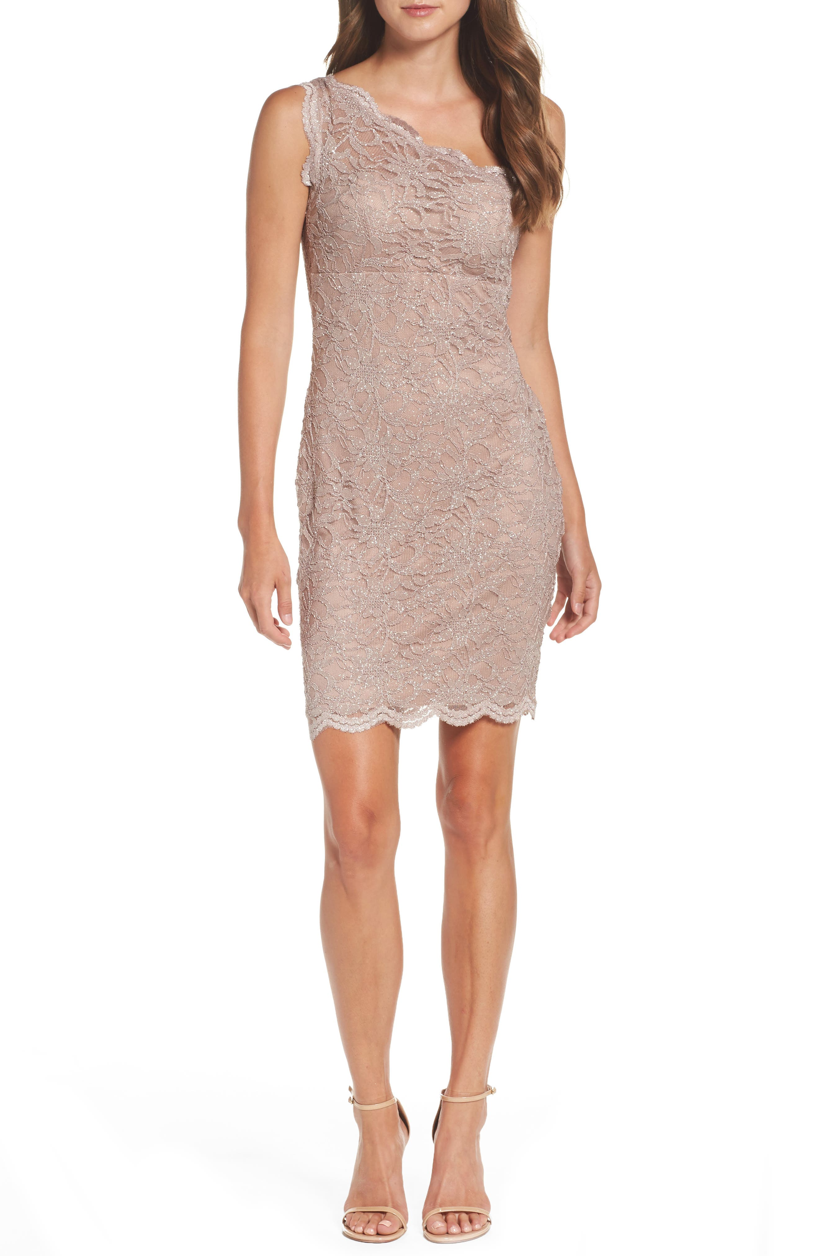 Morgan & Co. Glitter Lace One-Shoulder Body-Con Dress