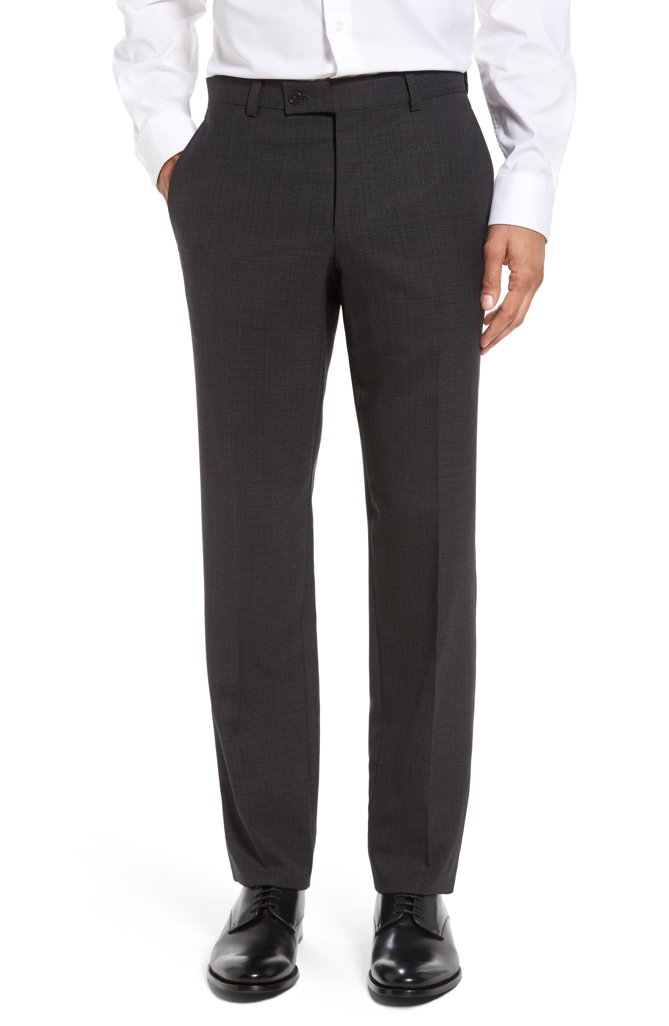 Ted Baker London Jefferson Flat Front Check Wool Trousers