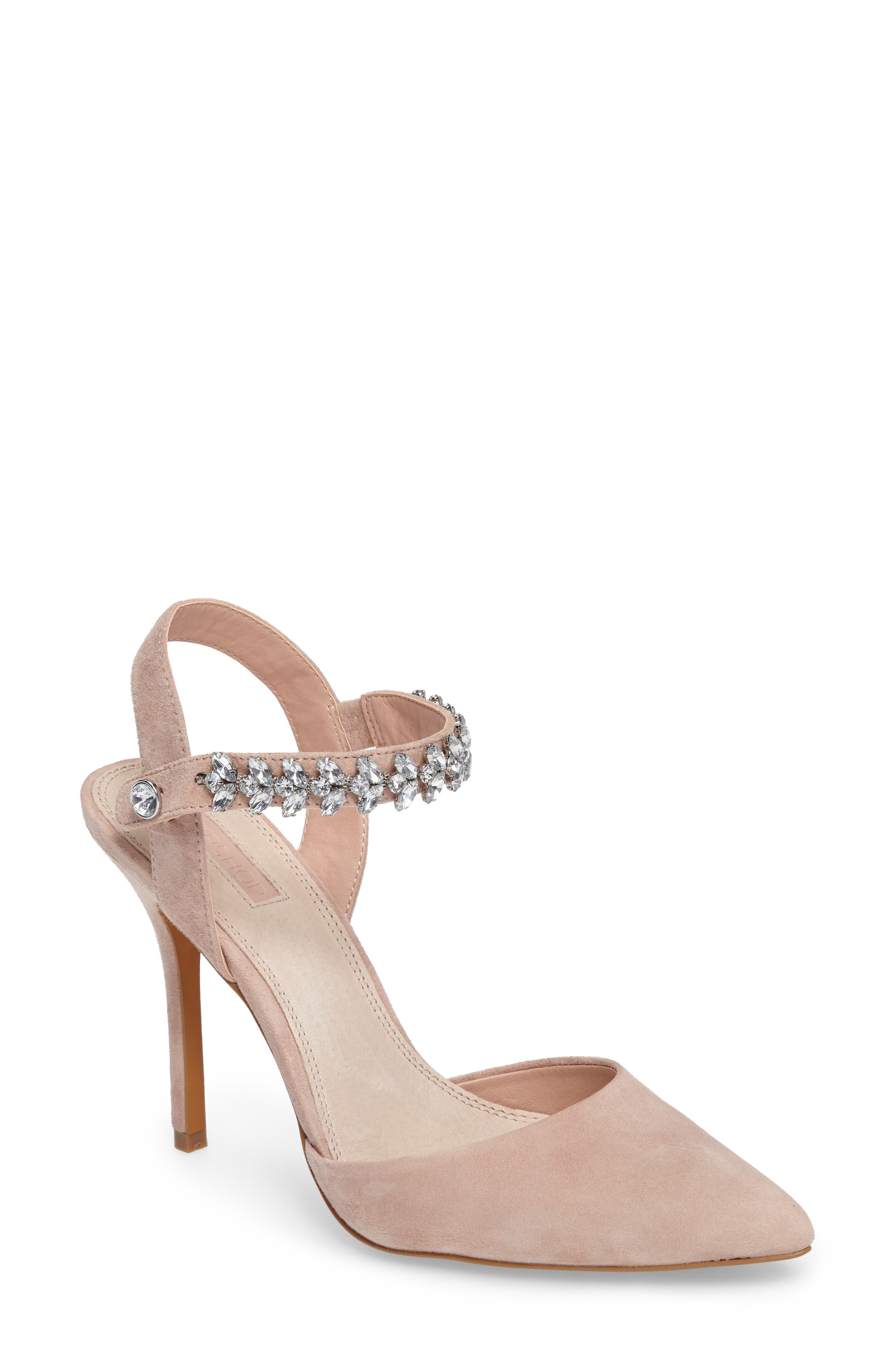 Topshop Embellished Ankle Strap Pump (Women)