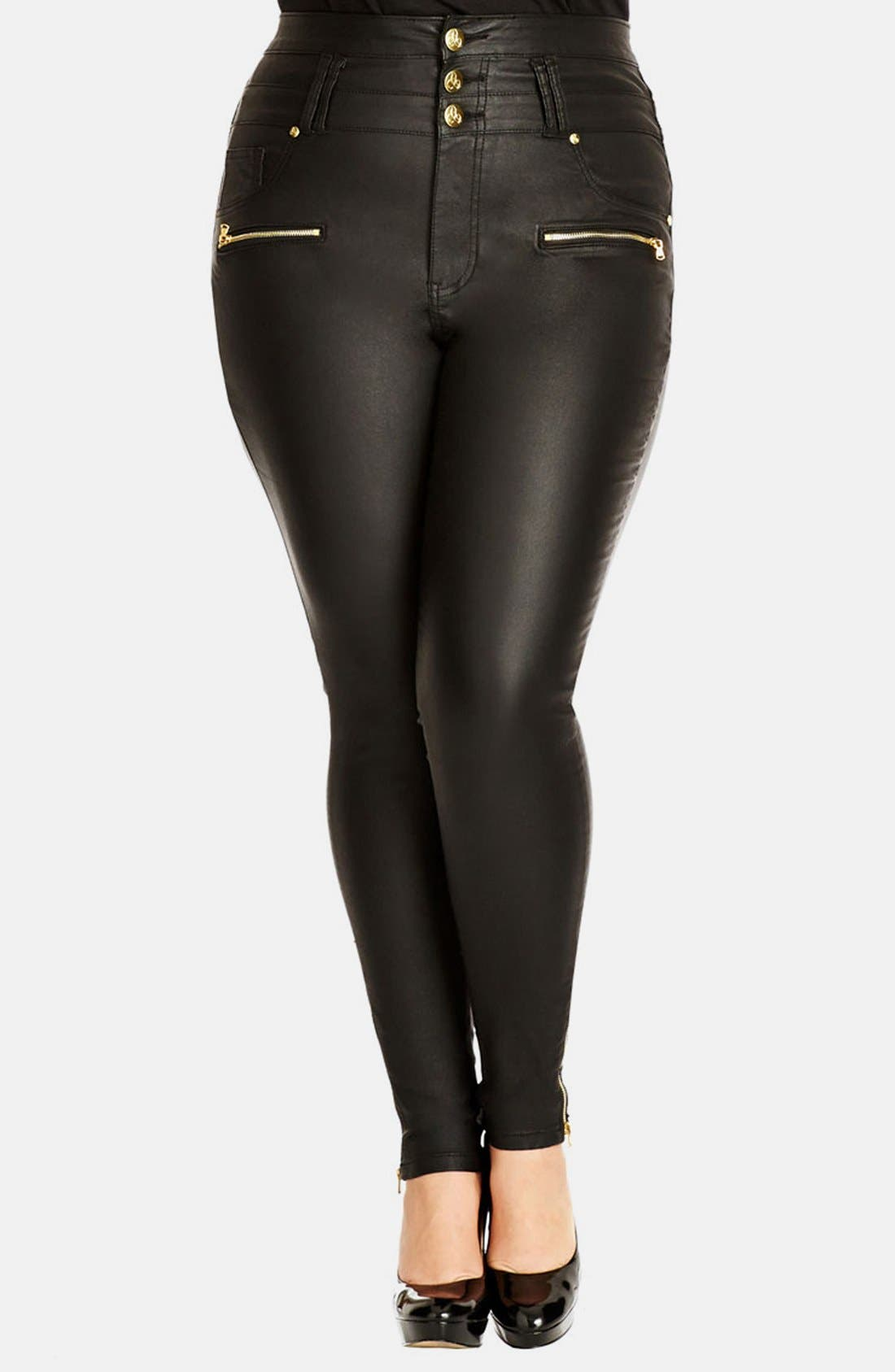 Alternate Image 1 Selected - City Chic 'Pick Me Up' Stretch Skinny Jeans (Black) (Plus Size)