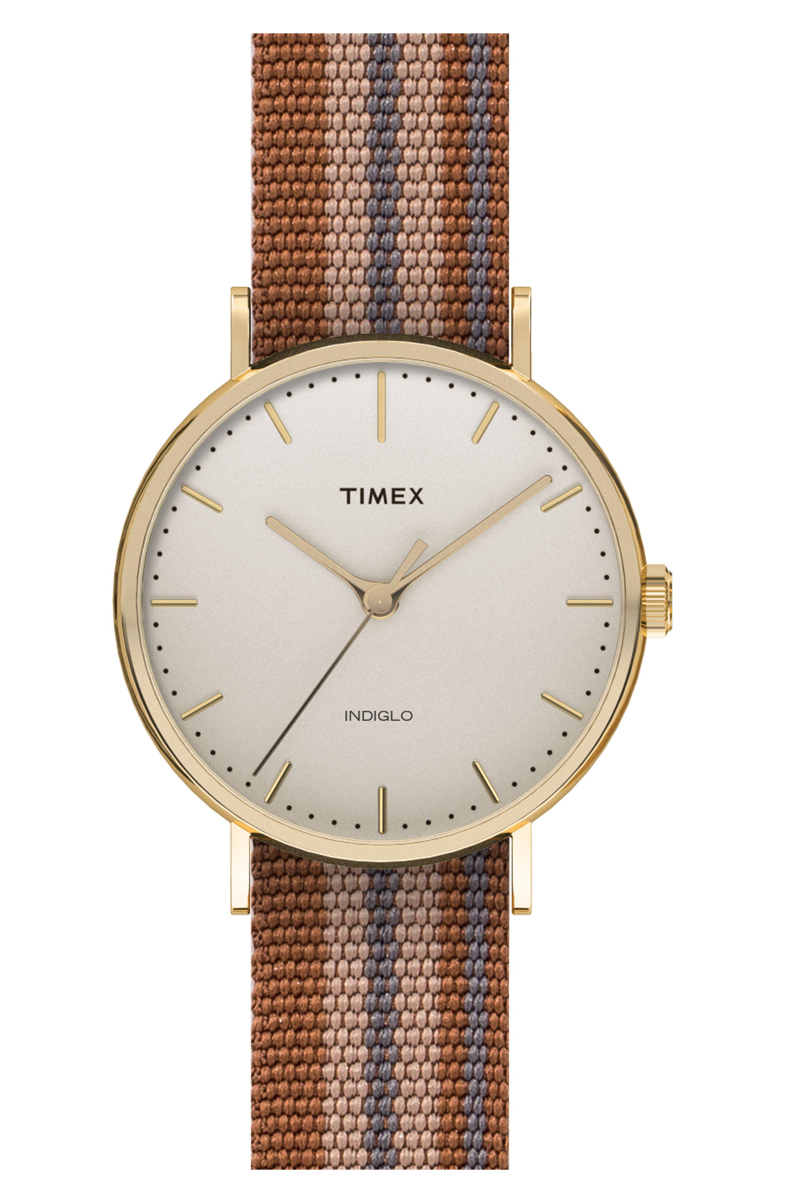 Timex® Fairfield Pavilion Round Nylon Strap Watch, 41 mm
