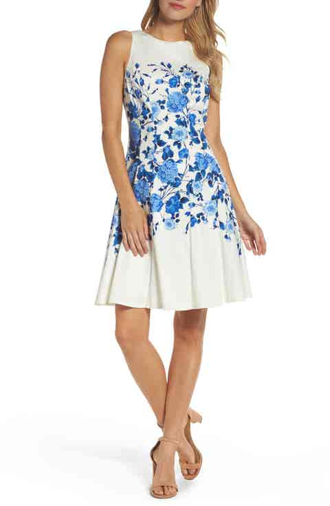 Maggy London Stretch Cotton Fit   Flare Dress