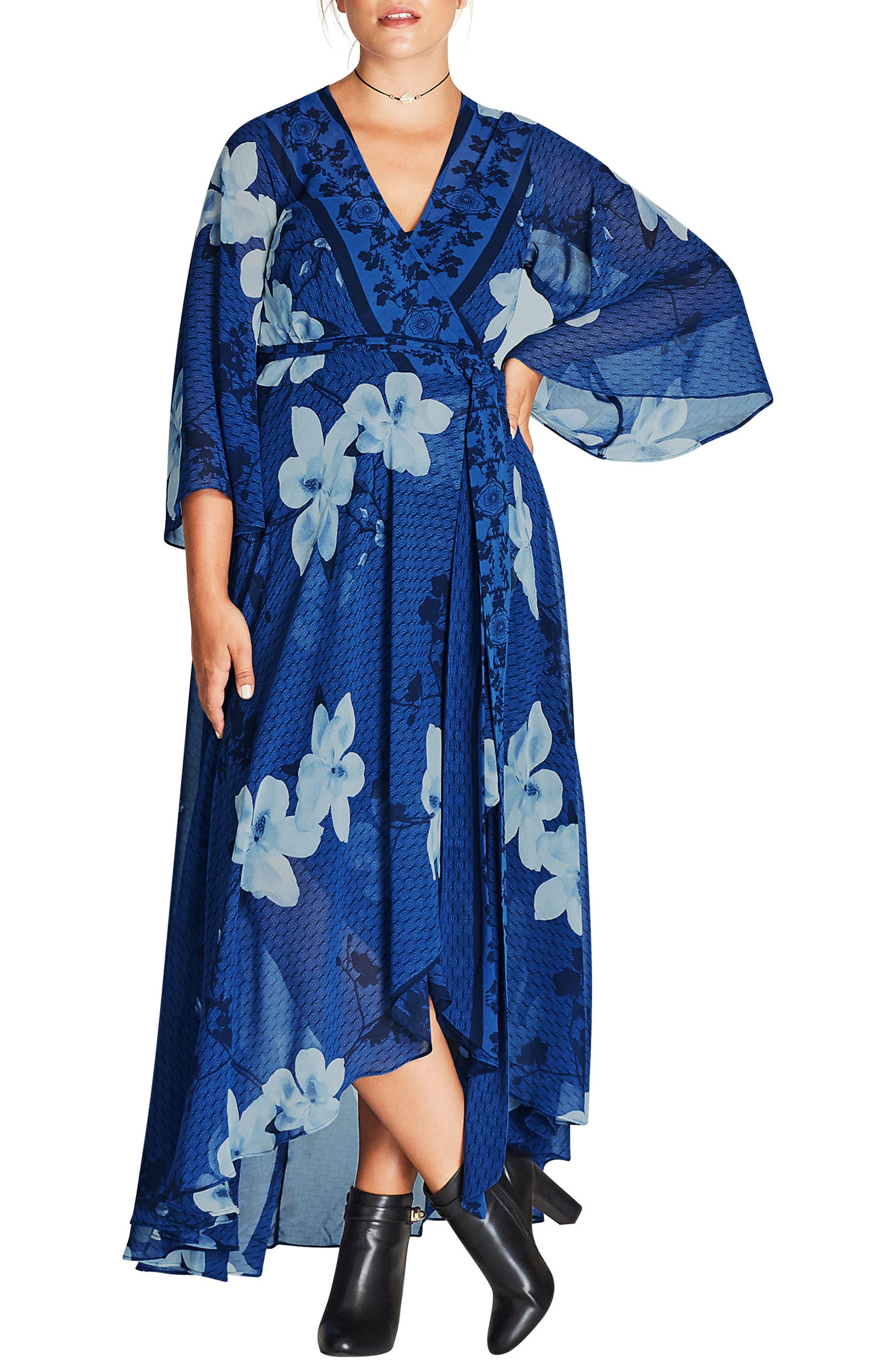 City Chic Blue Magnolia Maxi Wrap Dress (Plus Size)