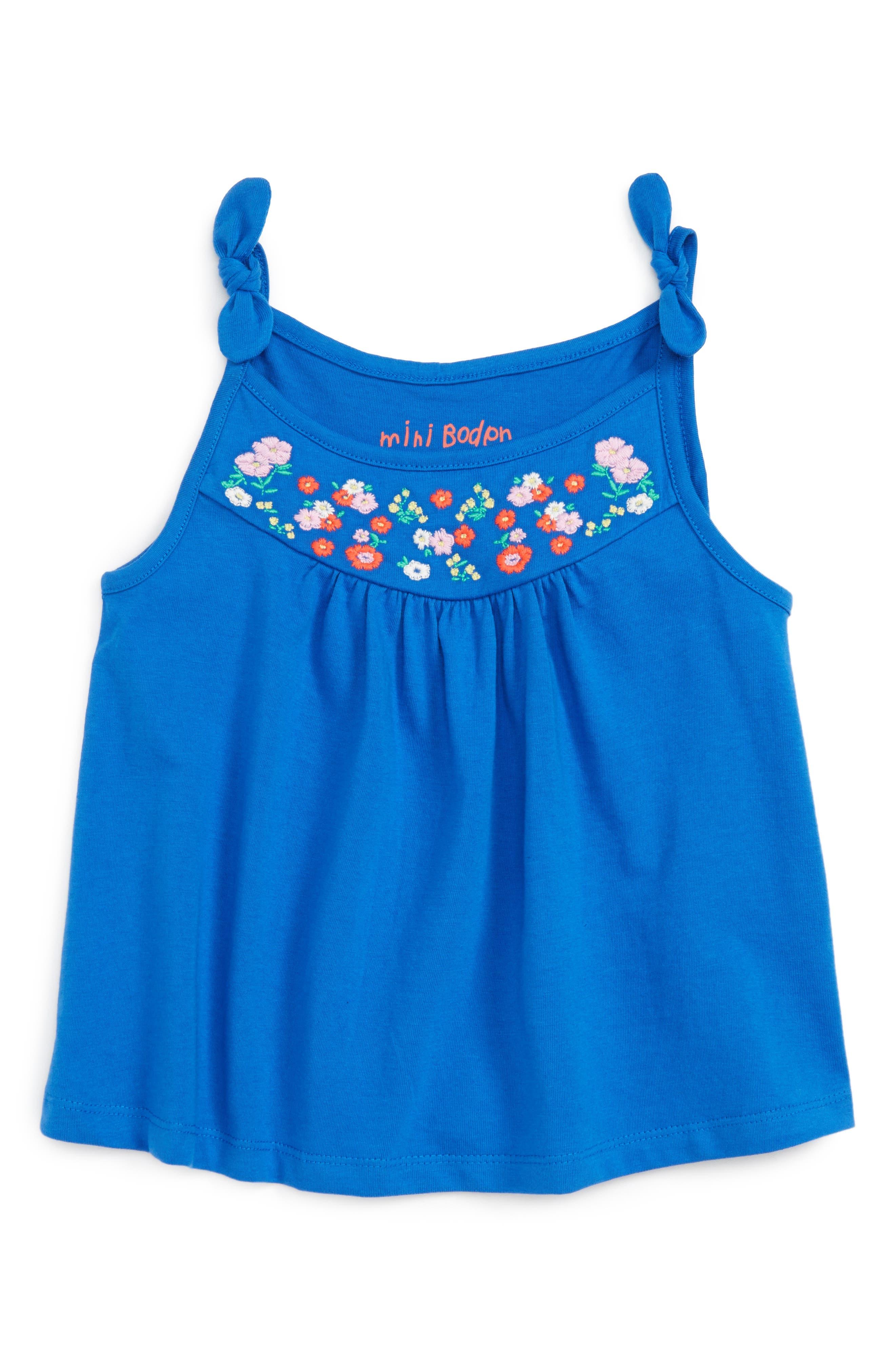 Mini Boden Embroidered Tank (Toddler Girls, Little Girls & Big Girls)