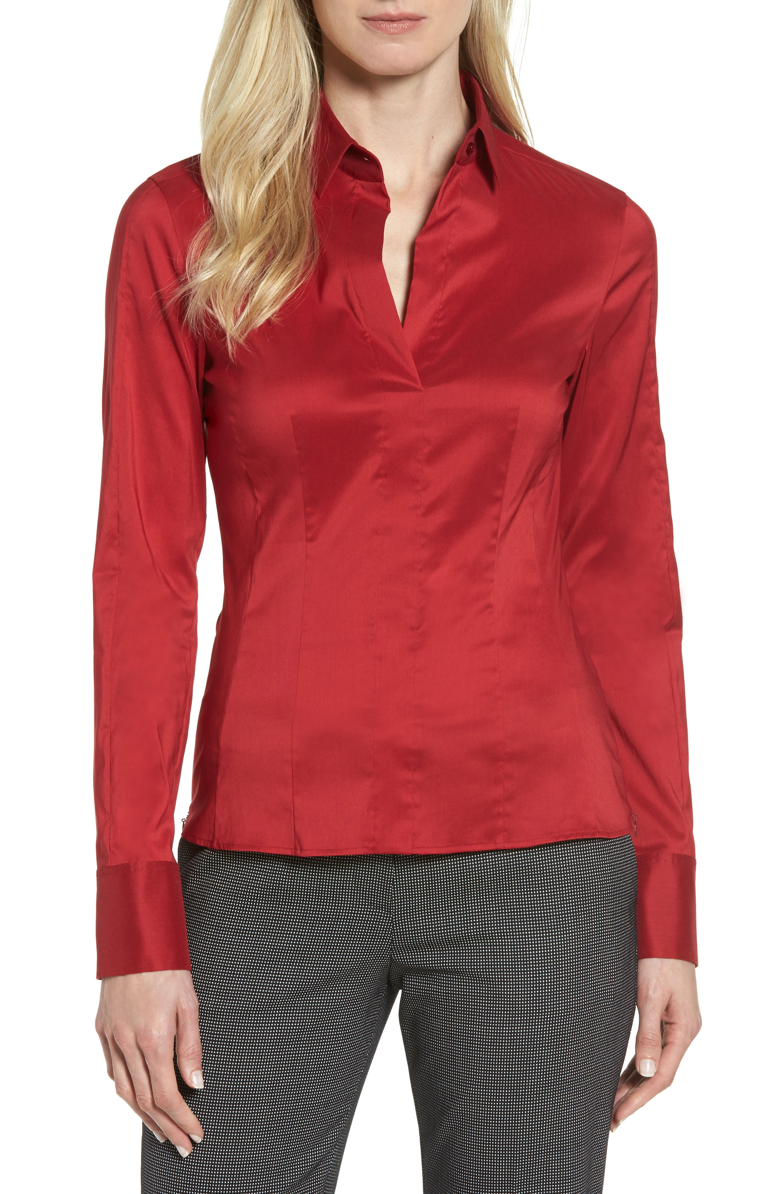 BOSS 'Bashina' Stretch Poplin Shirt (Regular & Petite)