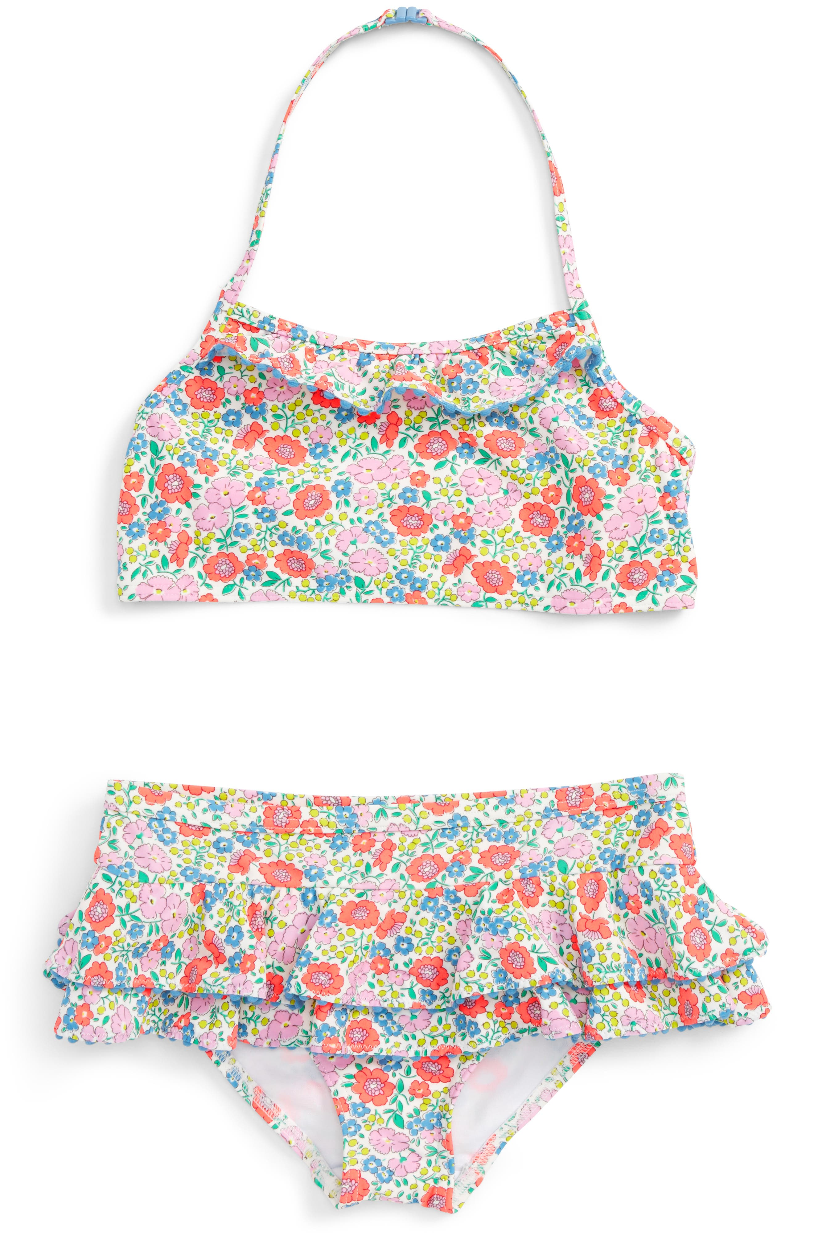 Mini Boden Pretty Ruffle Two-Piece Swimsuit (Toddler Girls, Little Girls & Big Girls)