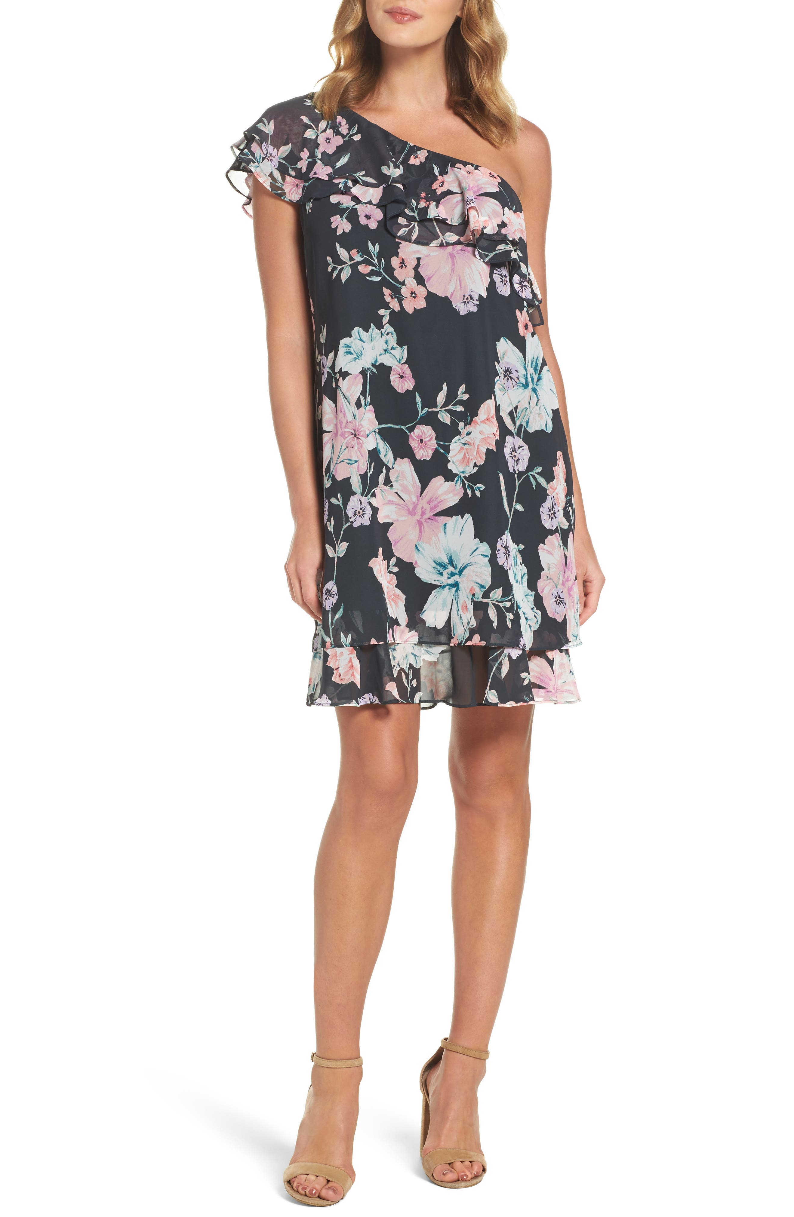 Eliza J Ruffle One-Shoulder Dress