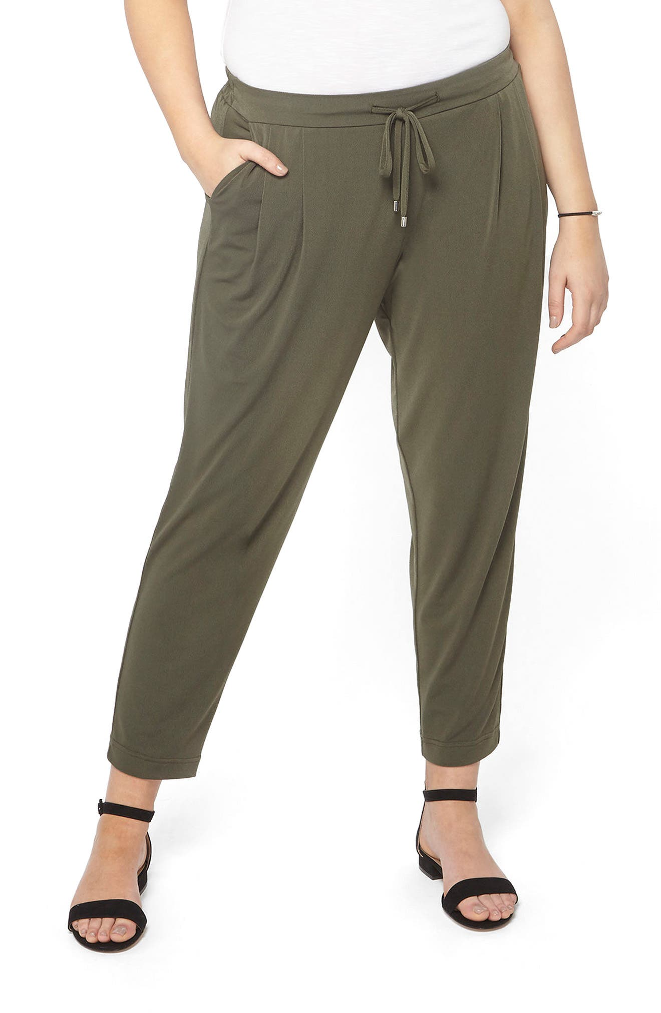 Evans Crepe Tapered Trousers (Plus Size)