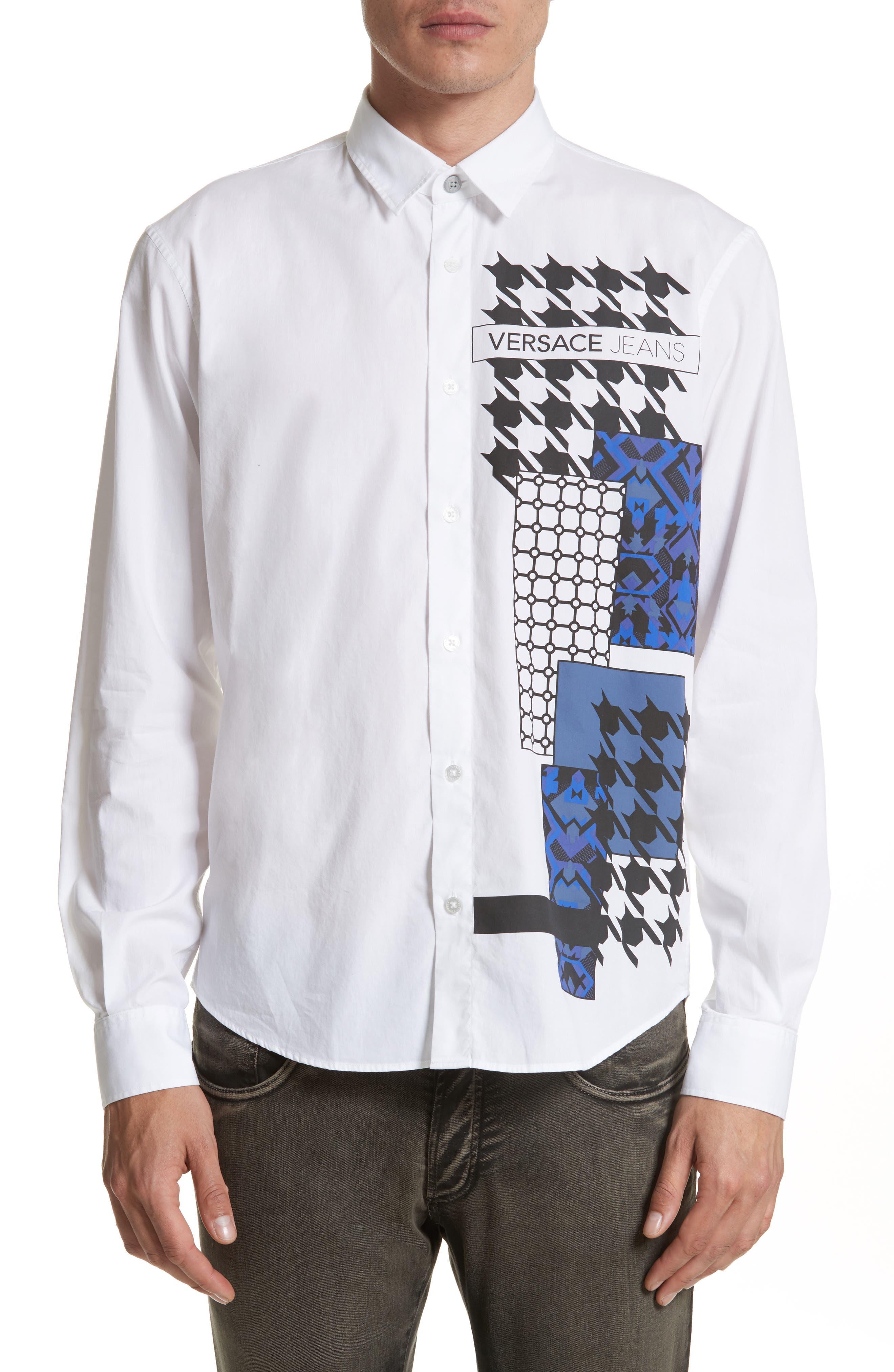 Versace Jeans Houndstooth Print Sport Shirt