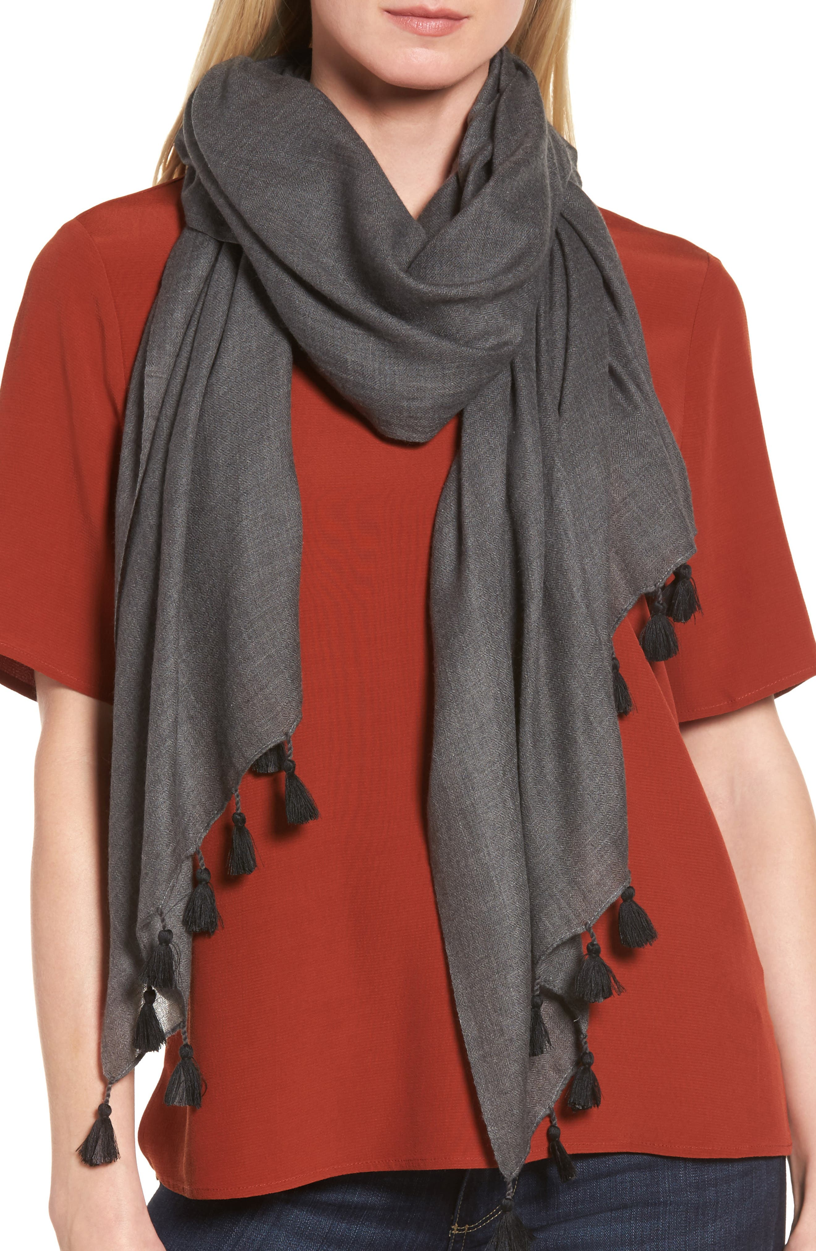 Eileen Fisher Tassel Trim Wool & Silk Scarf