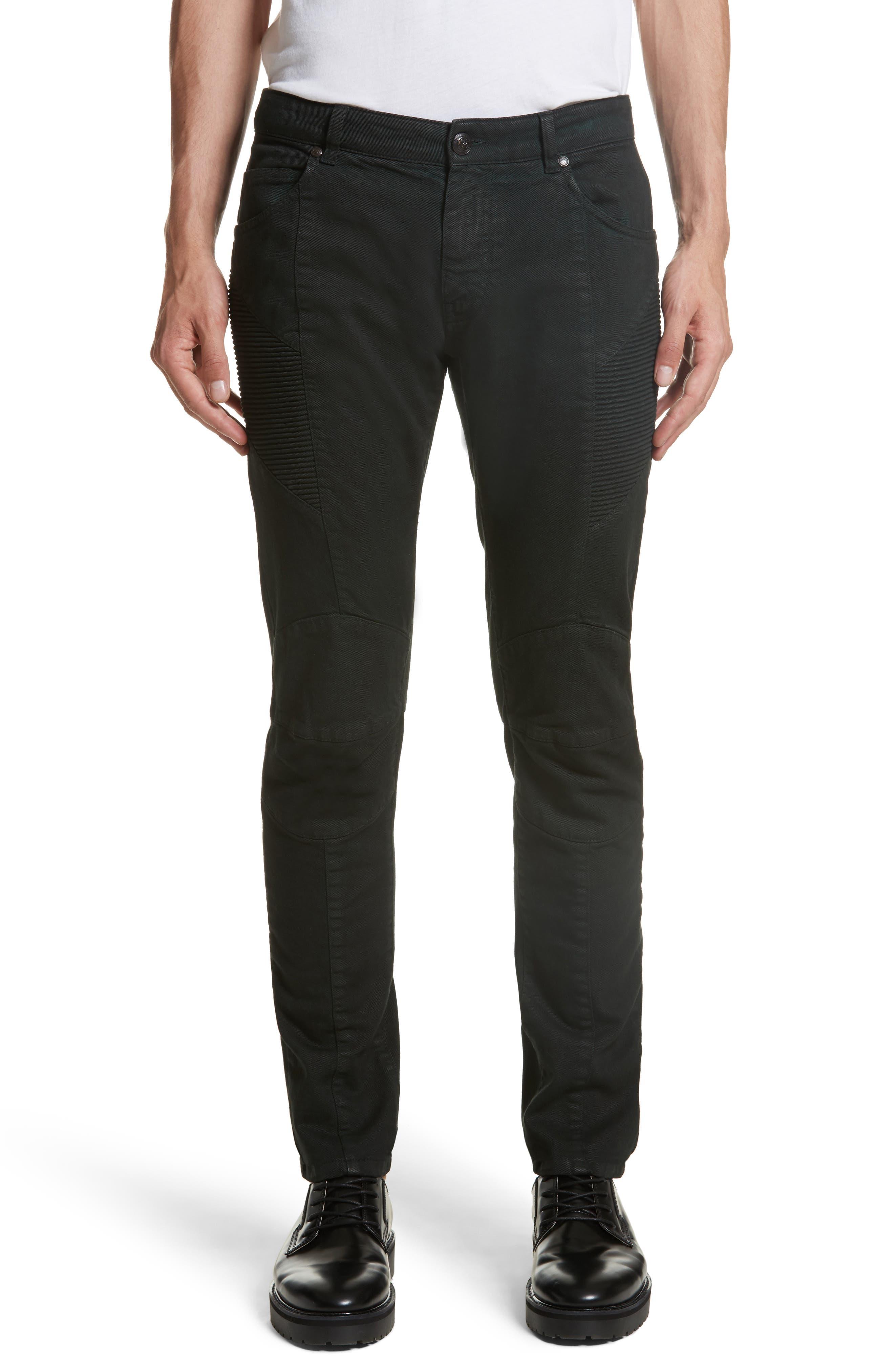 Pierre Balmain Moto Jeans (Dark Green)