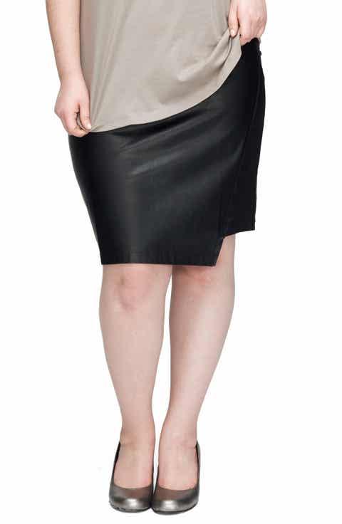 UNIVERSAL STANDARD Mosman Faux Leather Front Skirt (Plus Size)