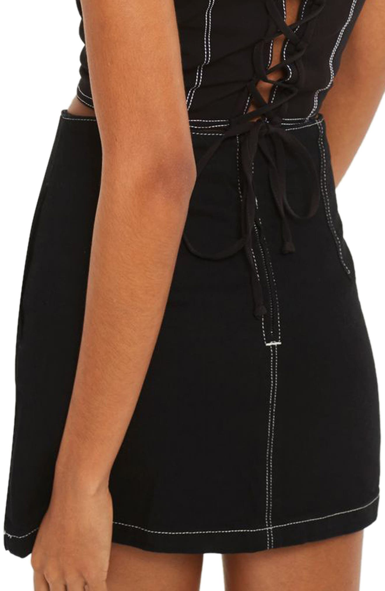 Alternate Image 2  - Topshop Contrast Stitch Denim Skirt