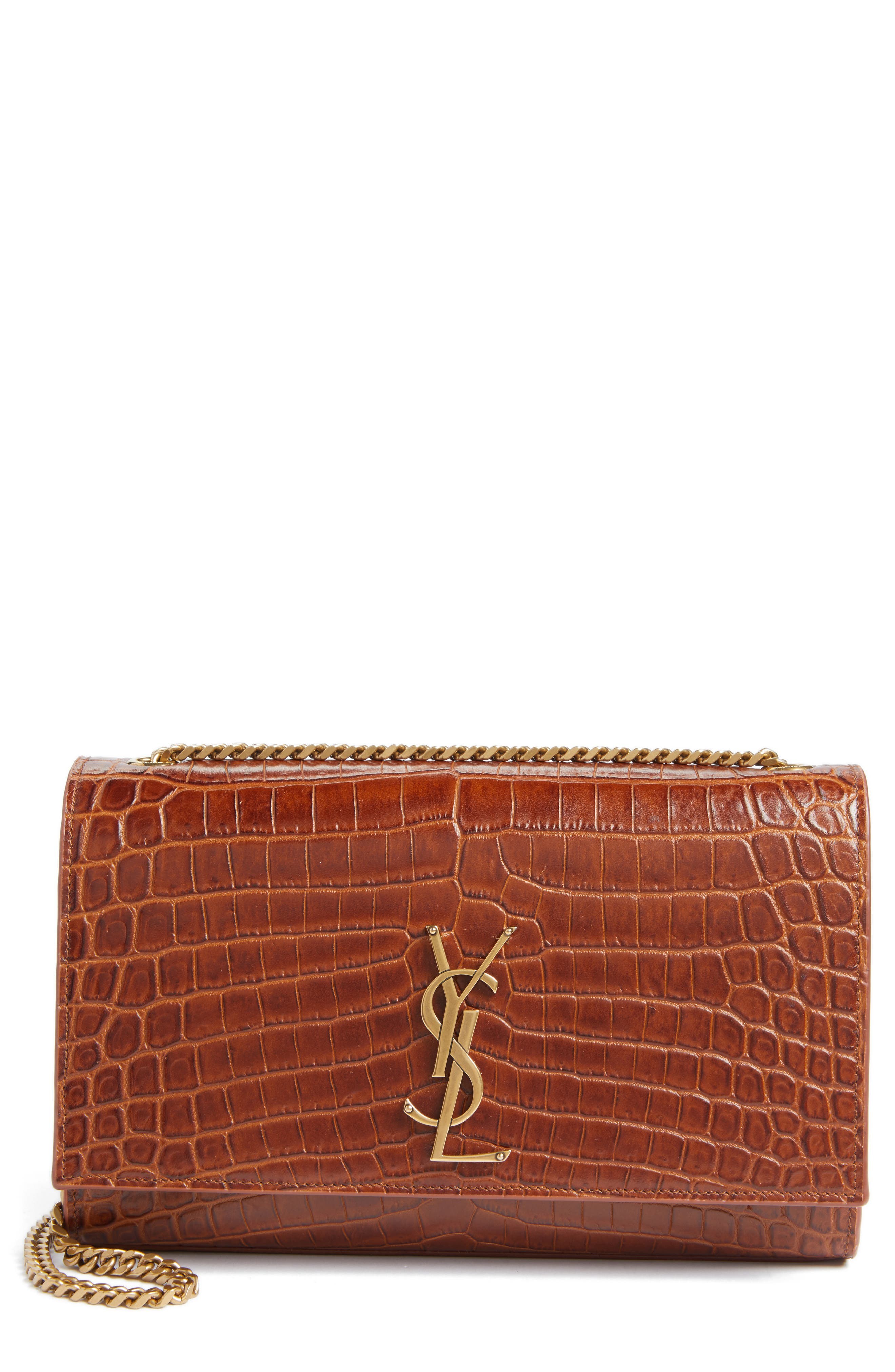 Saint Laurent Medium Kate Croc Embossed Leather Shoulder Bag