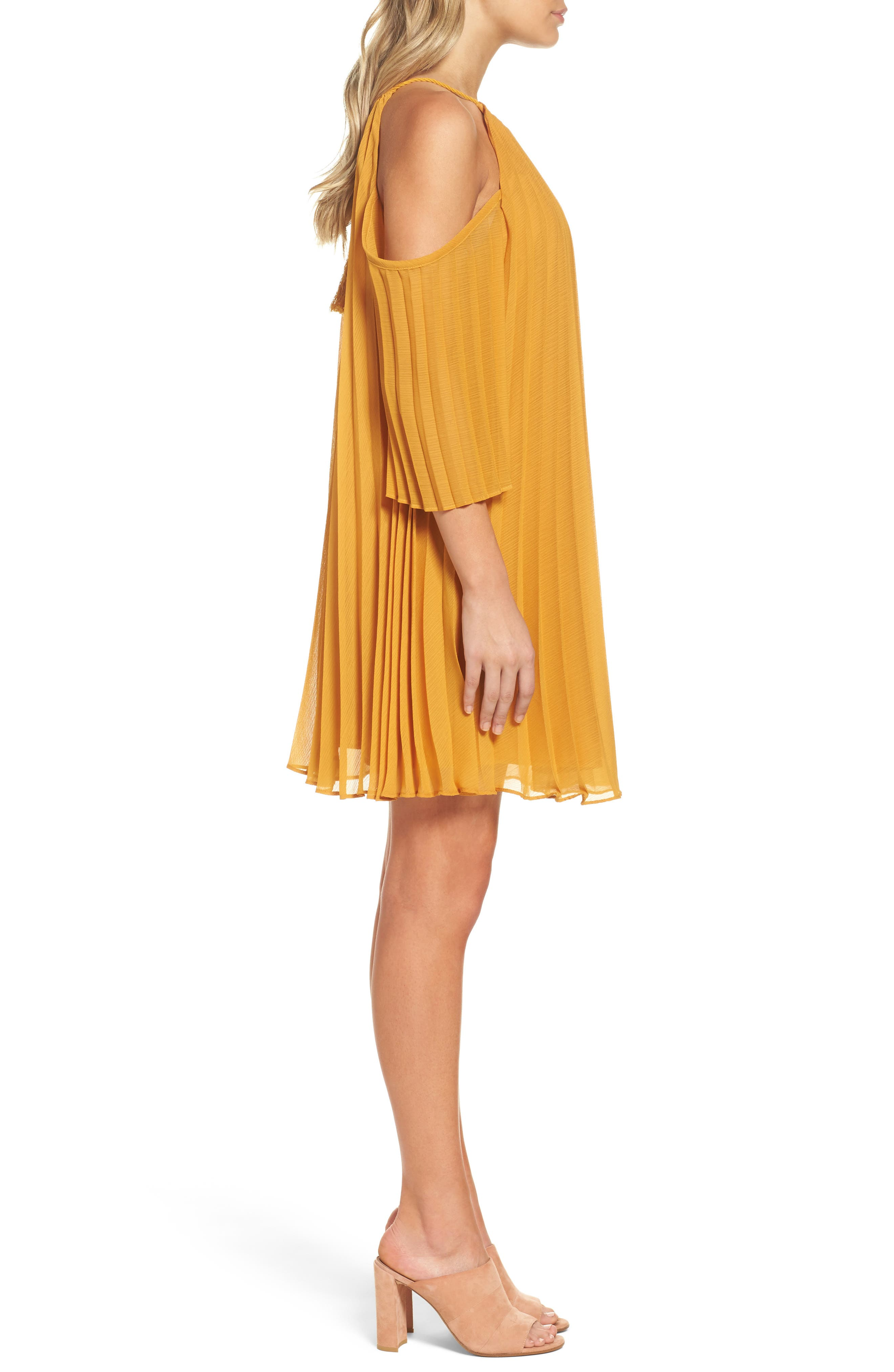 BB DAKOTA Gretal Cold Shoulder Pleated Dress in Royalty Yellow