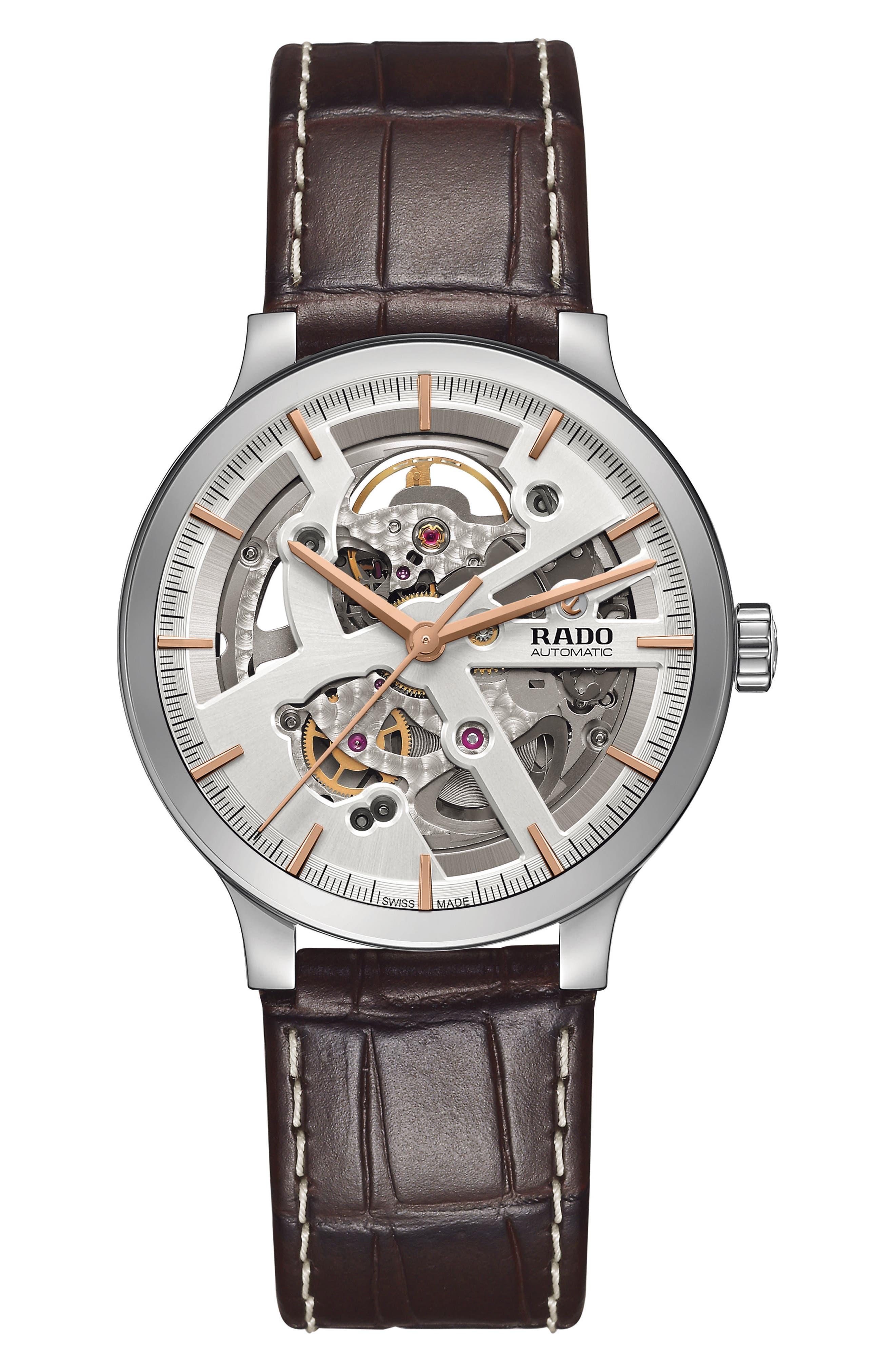 RADO Centrix Open Heart Automatic Leather Strap Watch, 38mm
