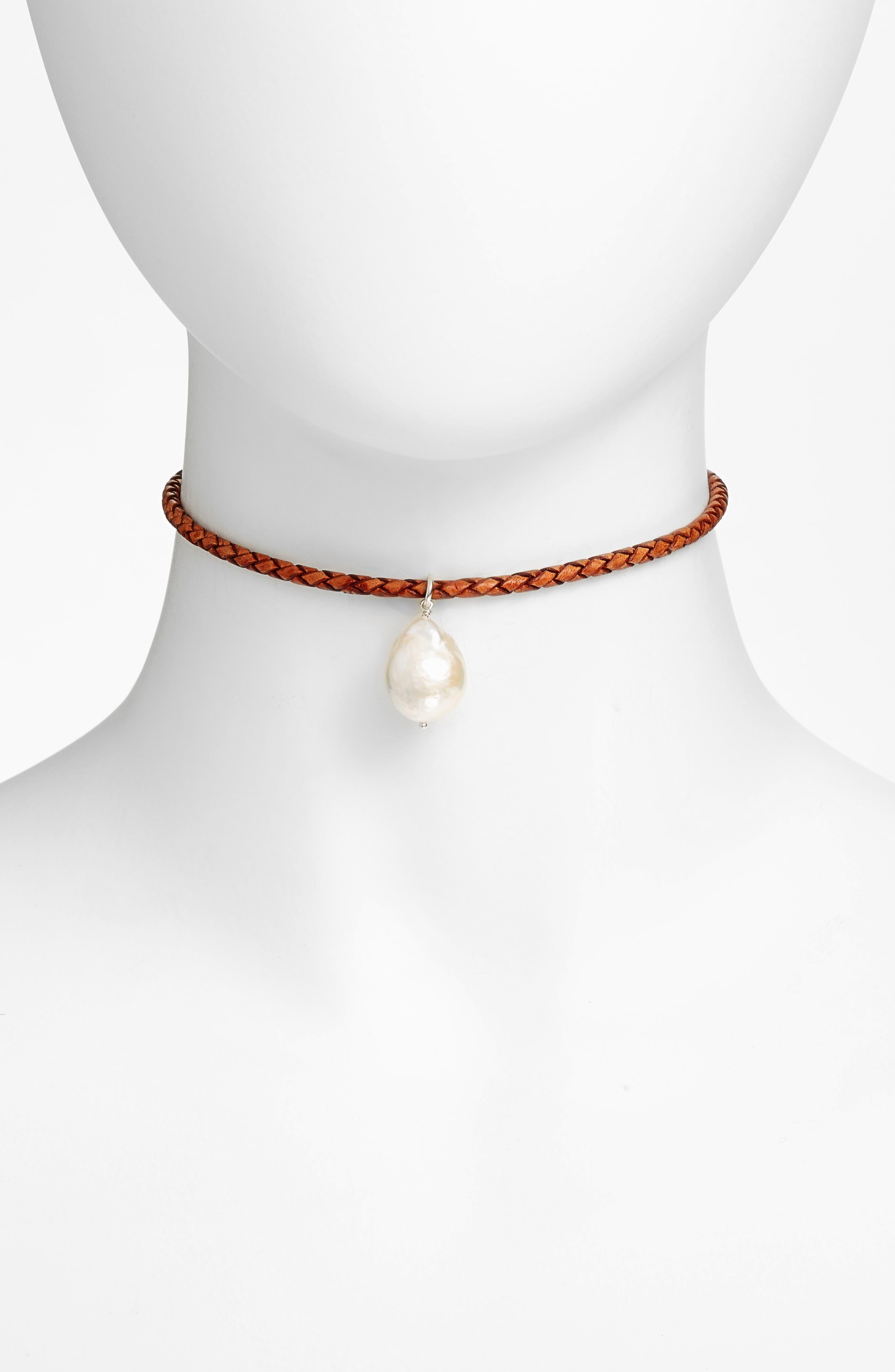Chan Luu Pearl & Leather Choker Necklace