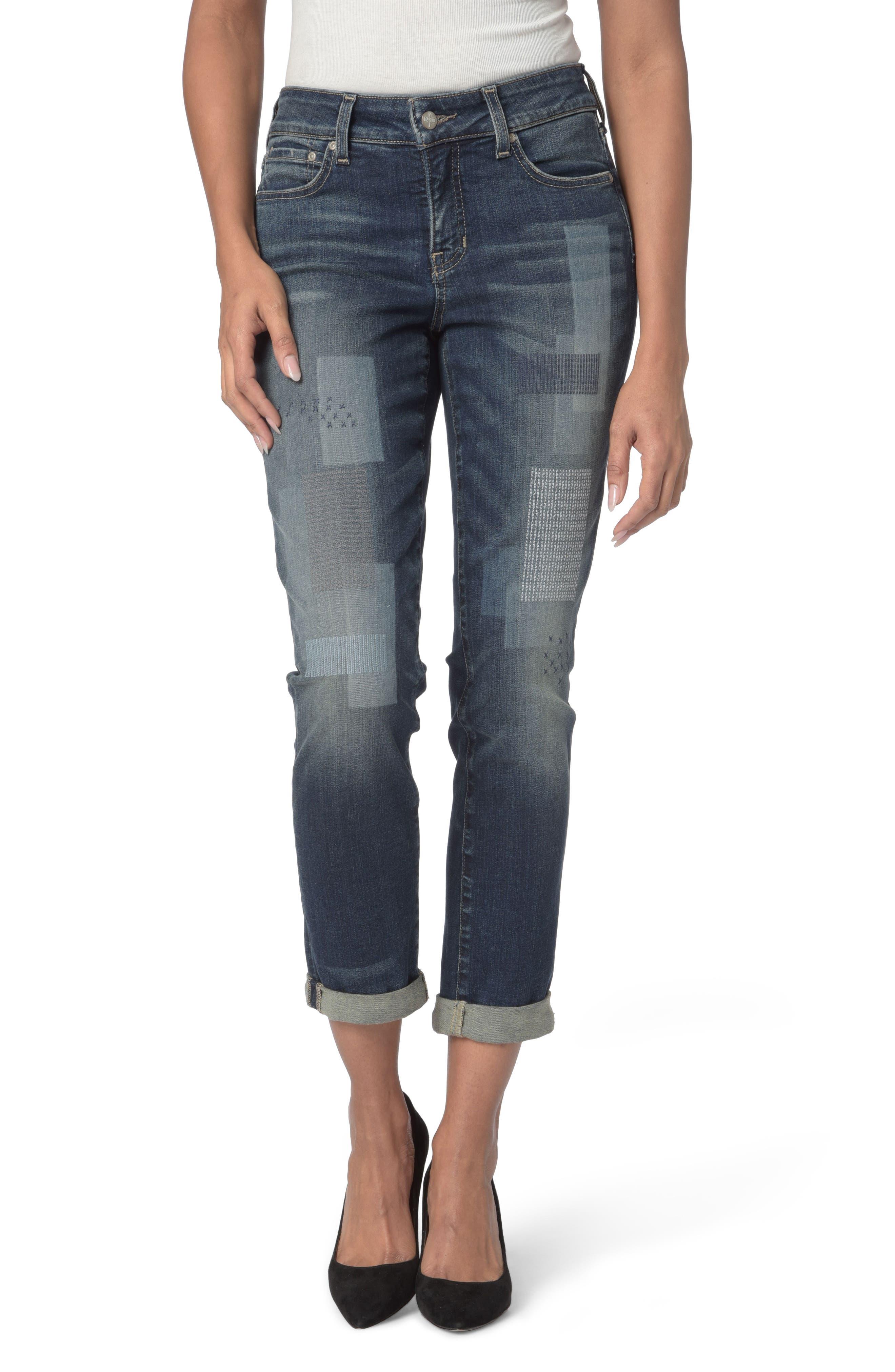 NYDJ Shadow Patch Stretch Boyfriend Jeans (Horizon)
