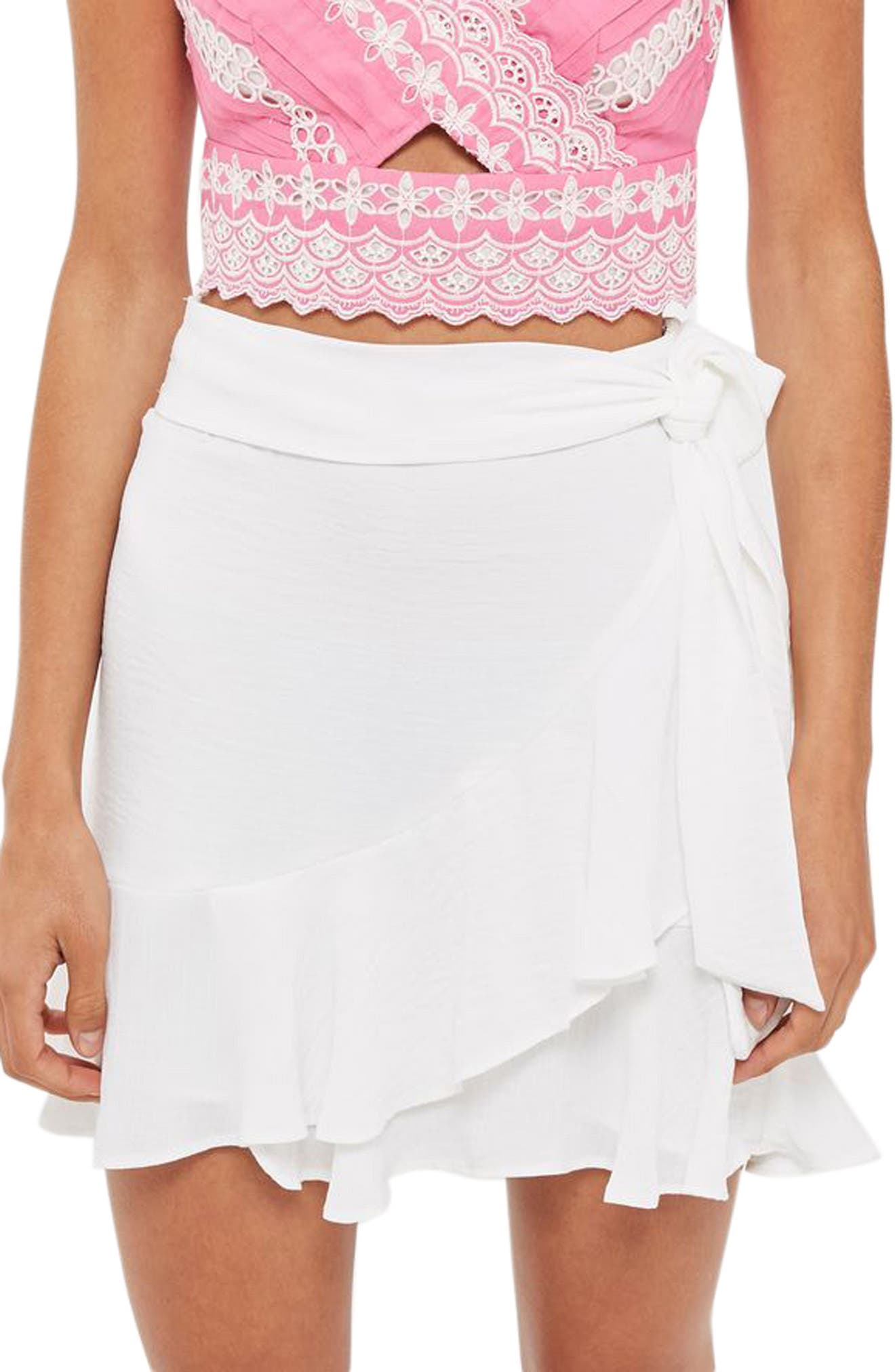 Topshop Ruffle Tie Mini Skirt