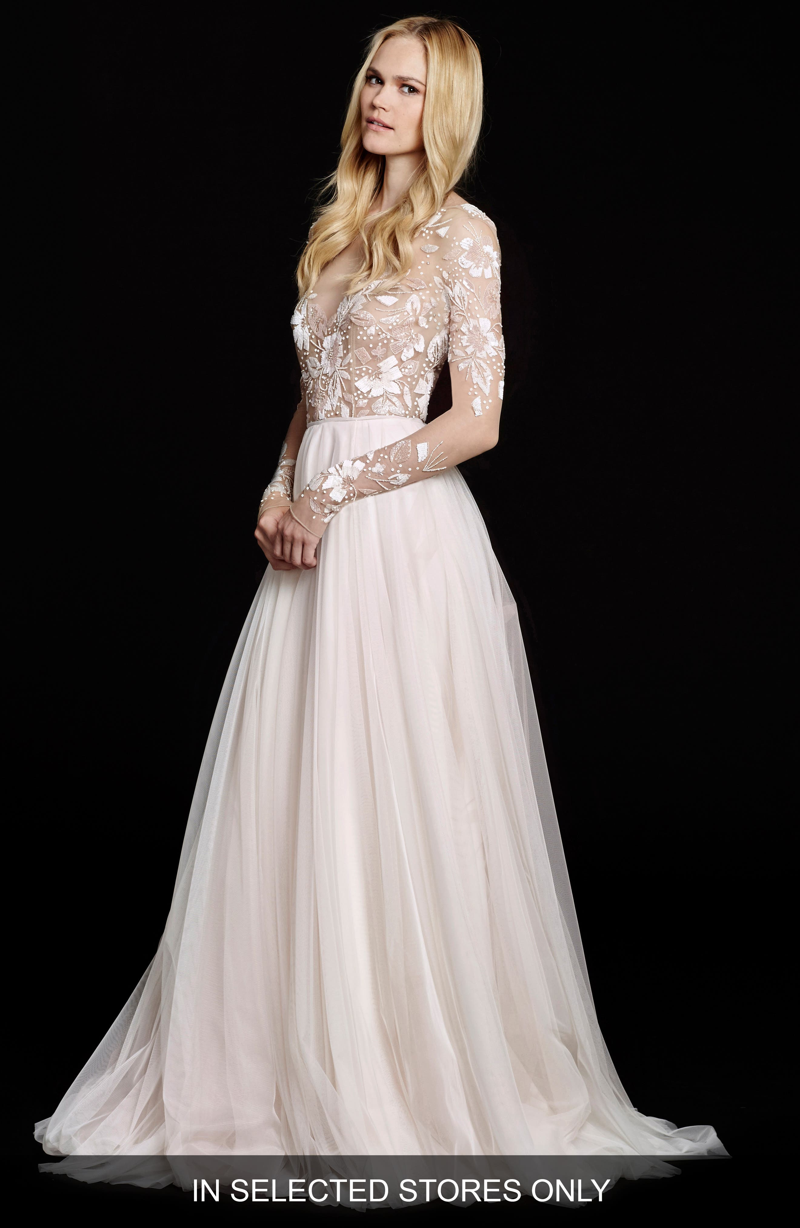 Main Image - Hayley Paige 'Remmington' Embellished English Net Gown (In Stores Only)