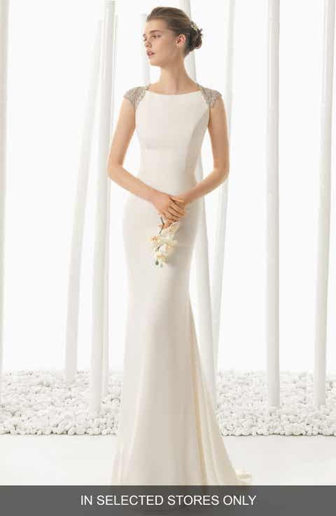 rosa clara beaded back crepe column dress in stores only