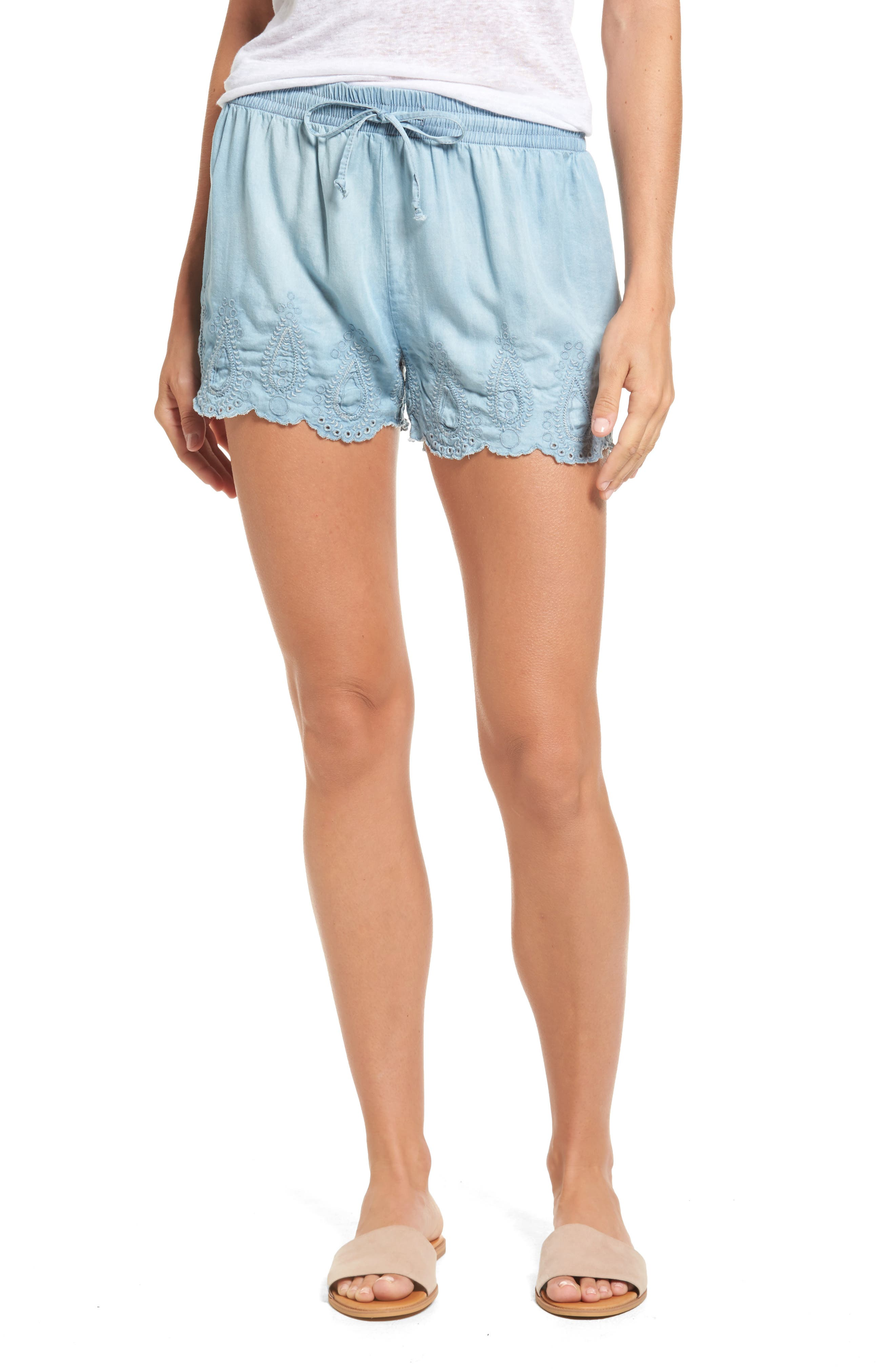 Dex Eyelet Chambray Shorts
