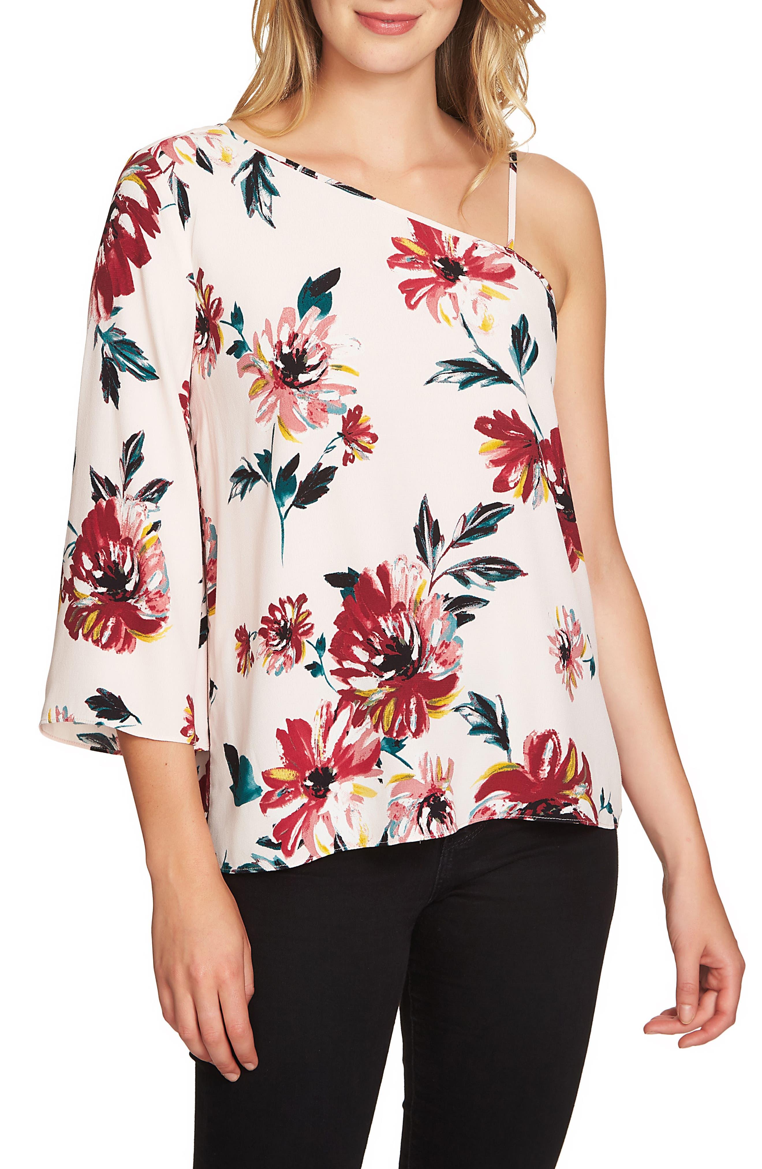 1.STATE Floral One-Shoulder Top