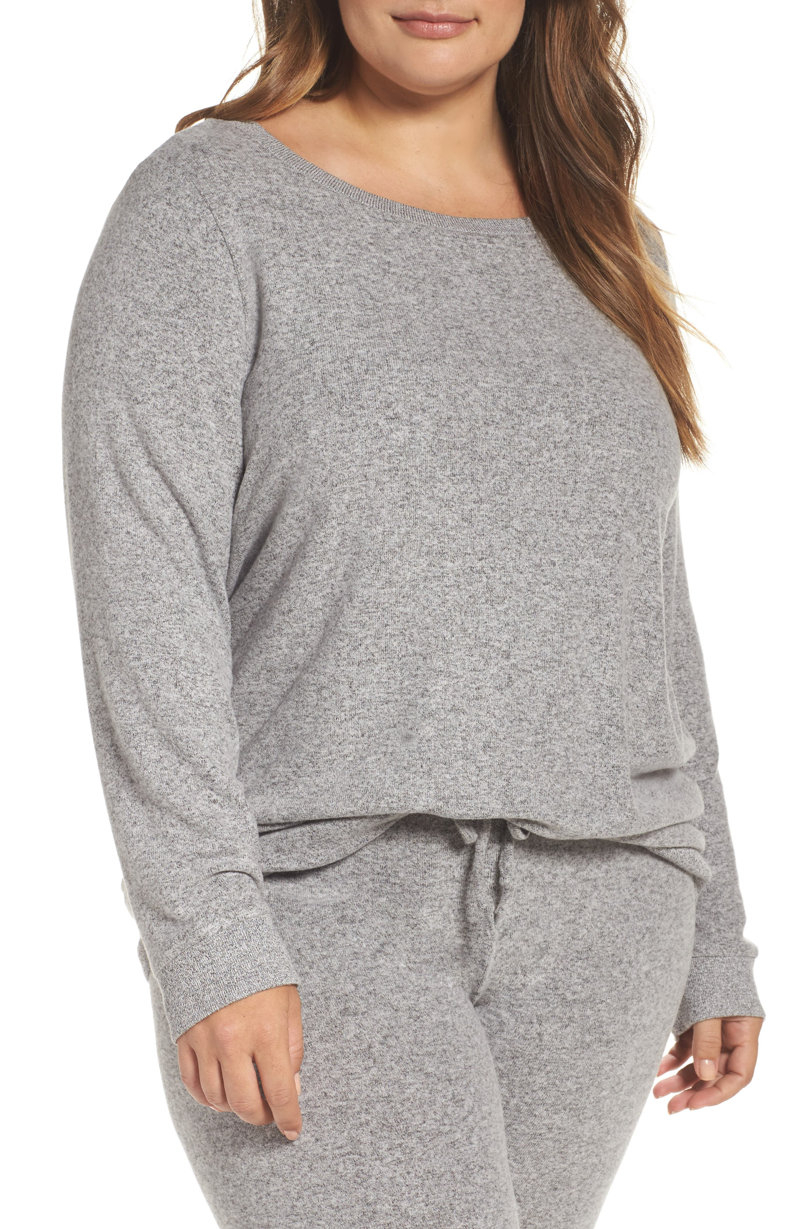 Make + Model Graphic Brushed Hacci Sweatshirt (Plus Size)