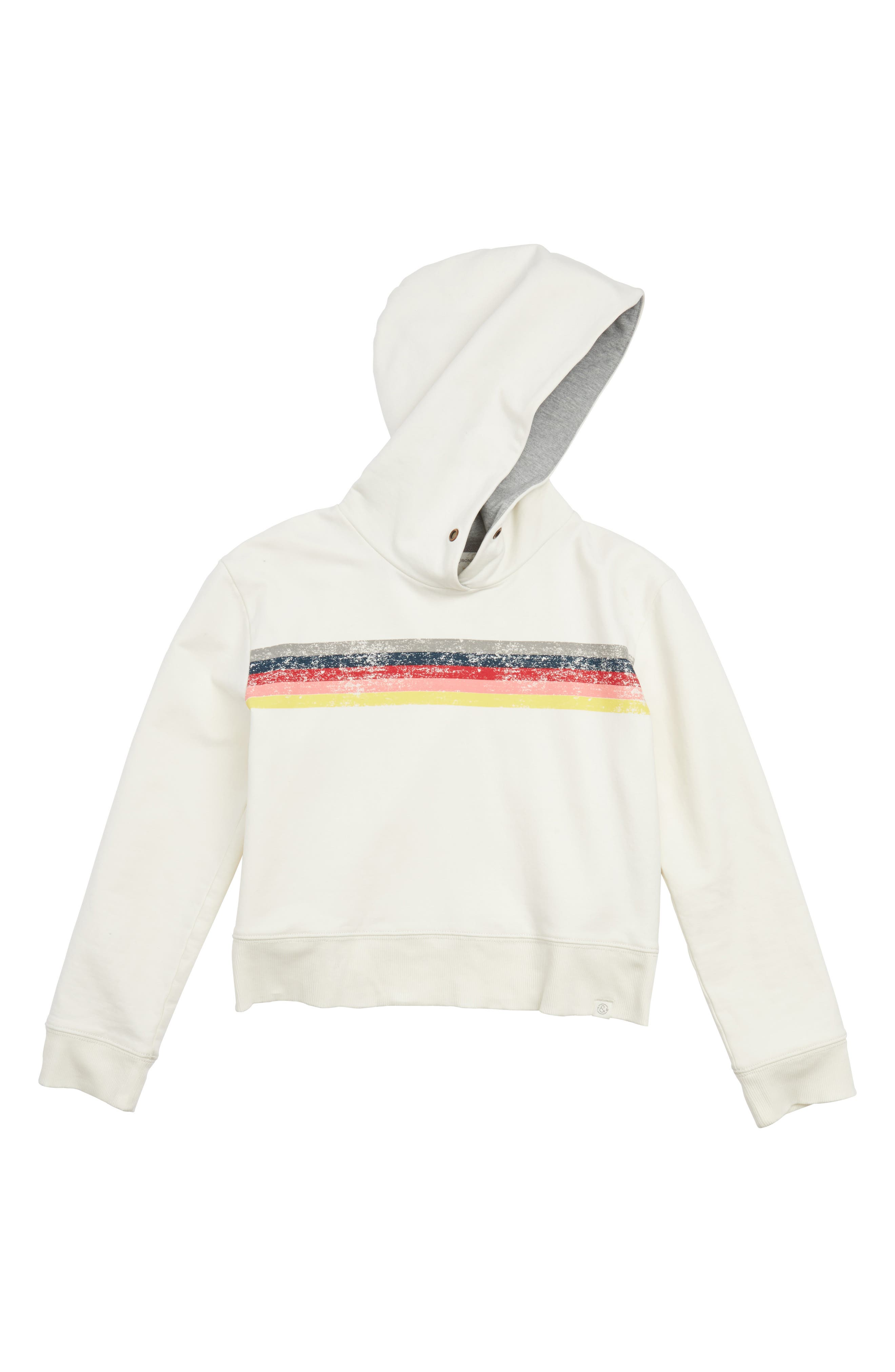 Treasure & Bond Graphic Stripe Crop Hoodie (Big Girls)