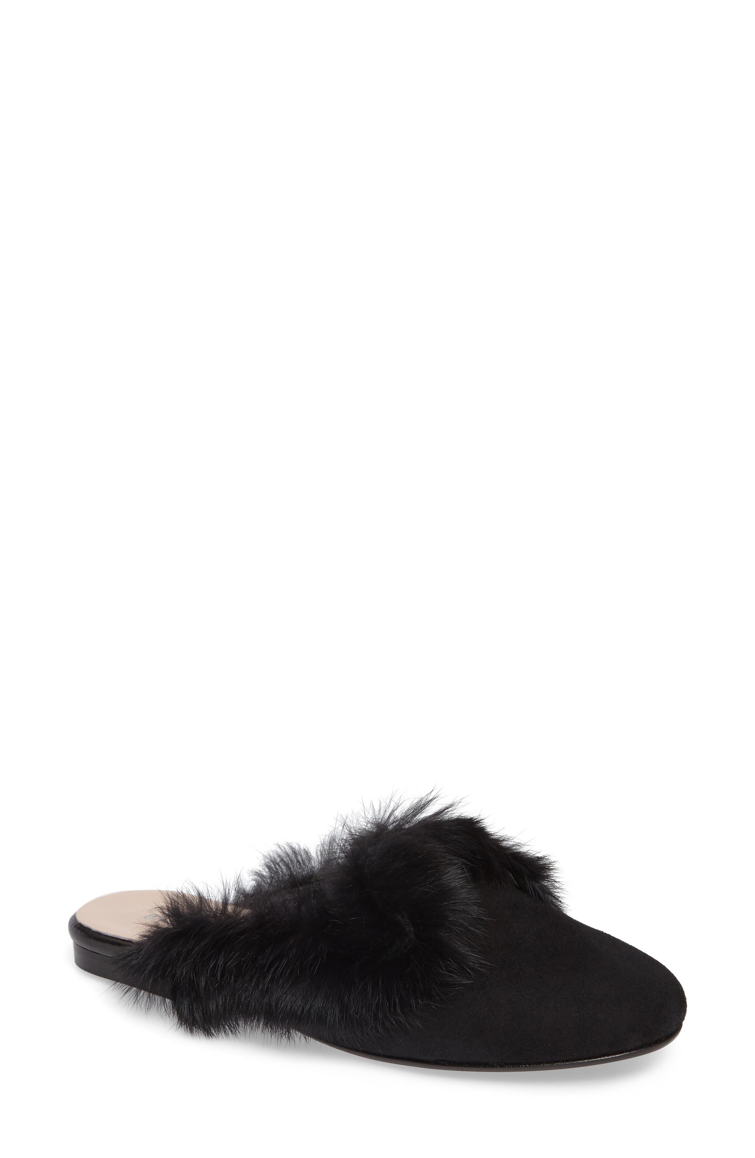 patricia green Stella Genuine Rabbit Fur Loafer Mule (Women)