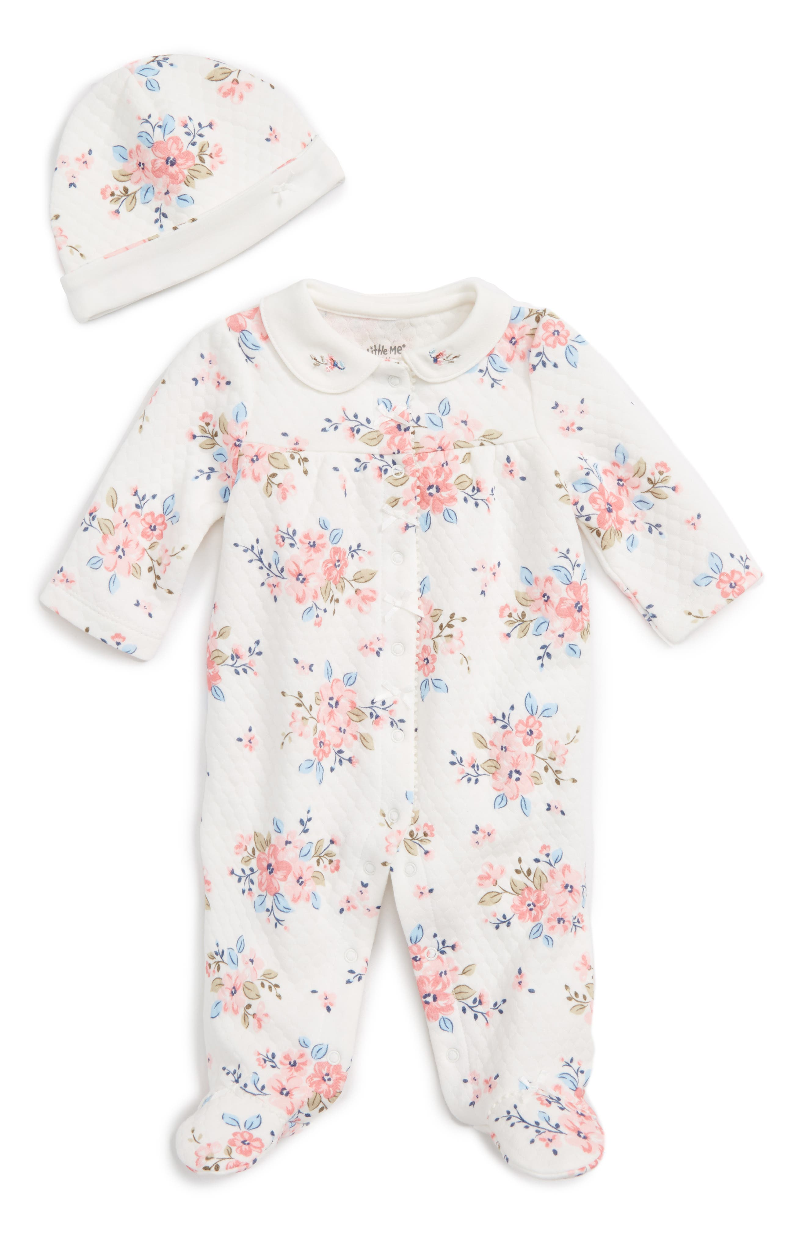 Little Me Blossoms Footie & Hat Set (Baby Girls)